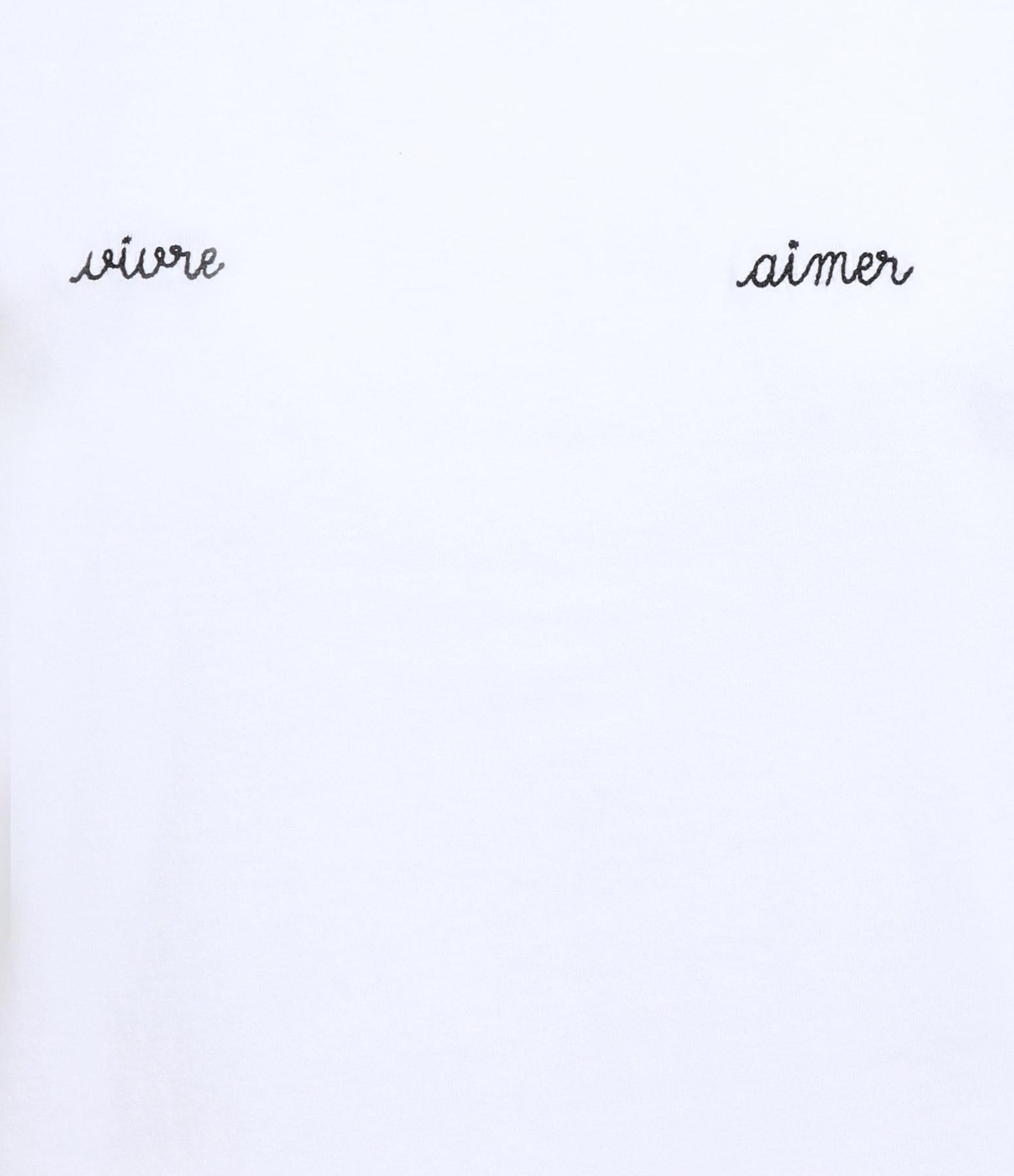 MAISON LABICHE - Tee-shirt Boyfriend Vivre Aimer Coton Blanc Noir