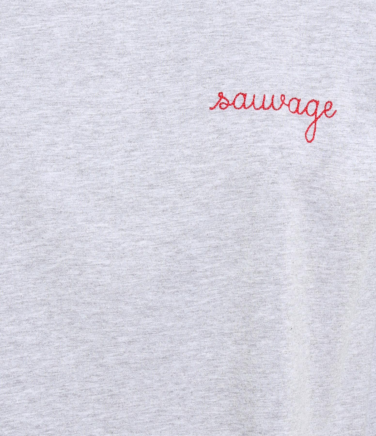 MAISON LABICHE - Tee-shirt Sauvage Coton Gris Chiné Rouge