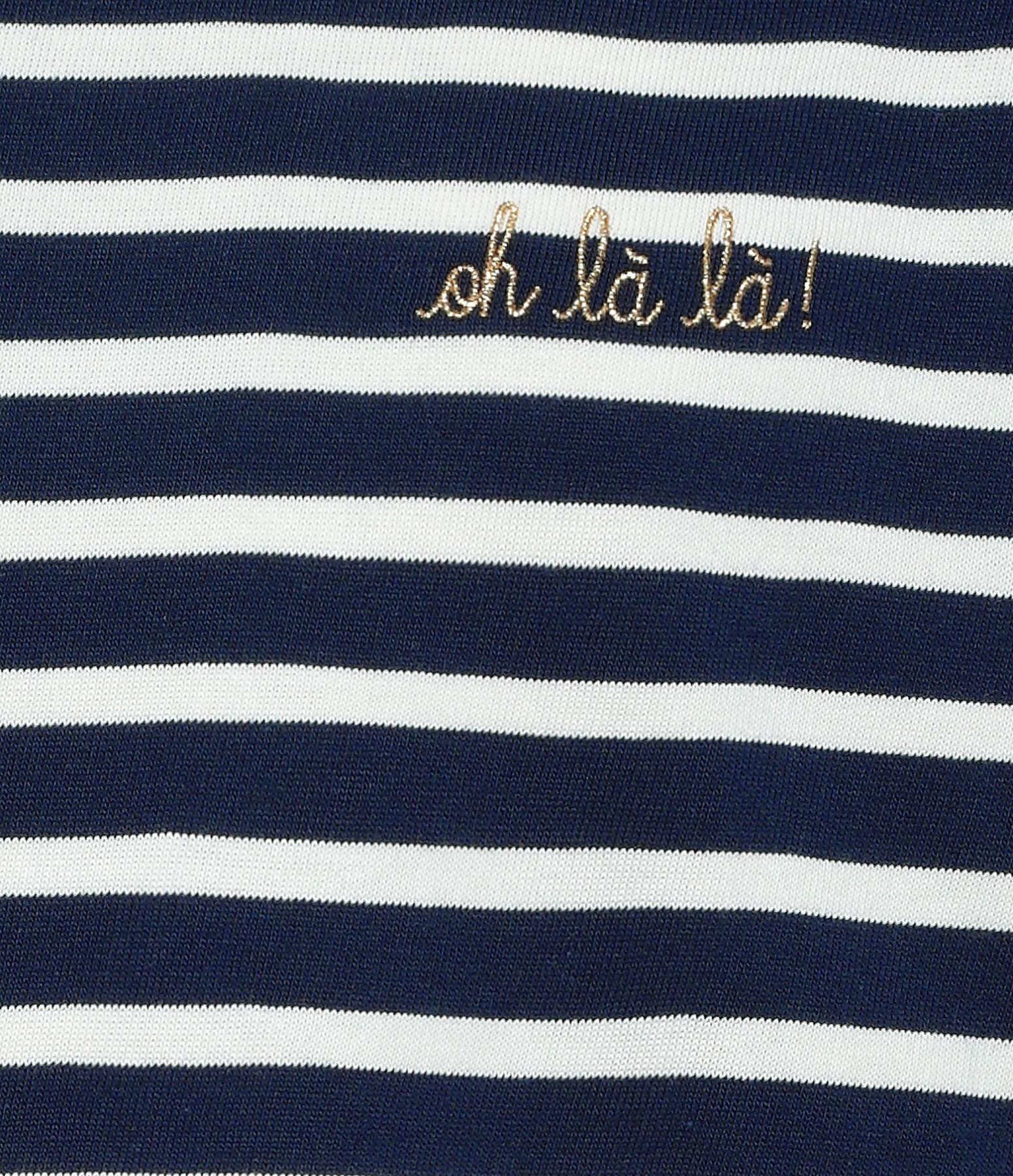 MAISON LABICHE - Tee-shirt Oh la la ! Rayures Bleu Ivoire
