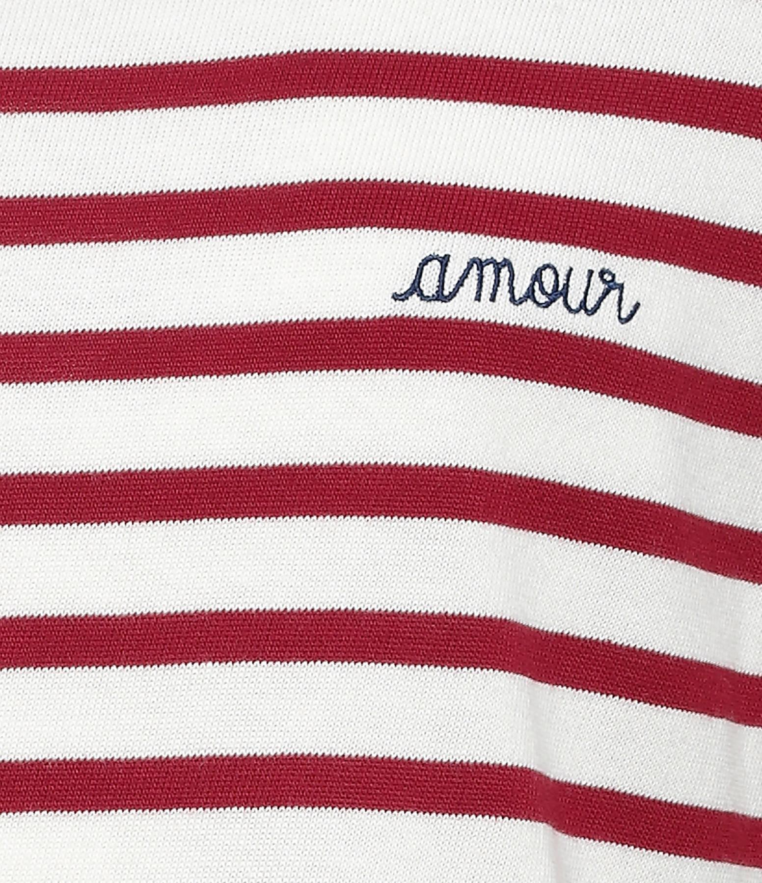 MAISON LABICHE - Tee-shirt Amour Rayures Bordeaux Ivoire