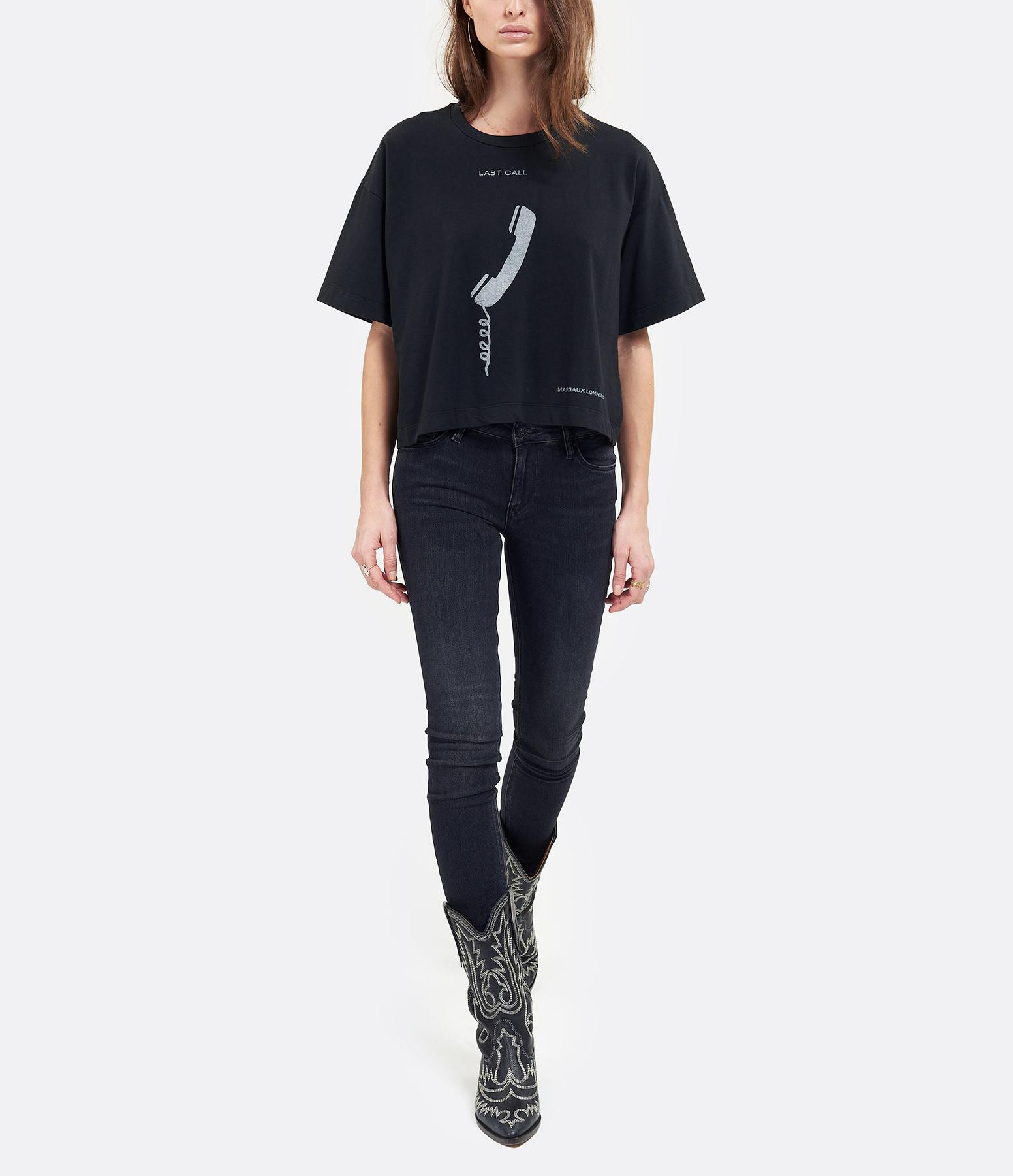 MARGAUX LONNBERG - Tee-shirt Brisa Last Call Imprimé Noir Délavé