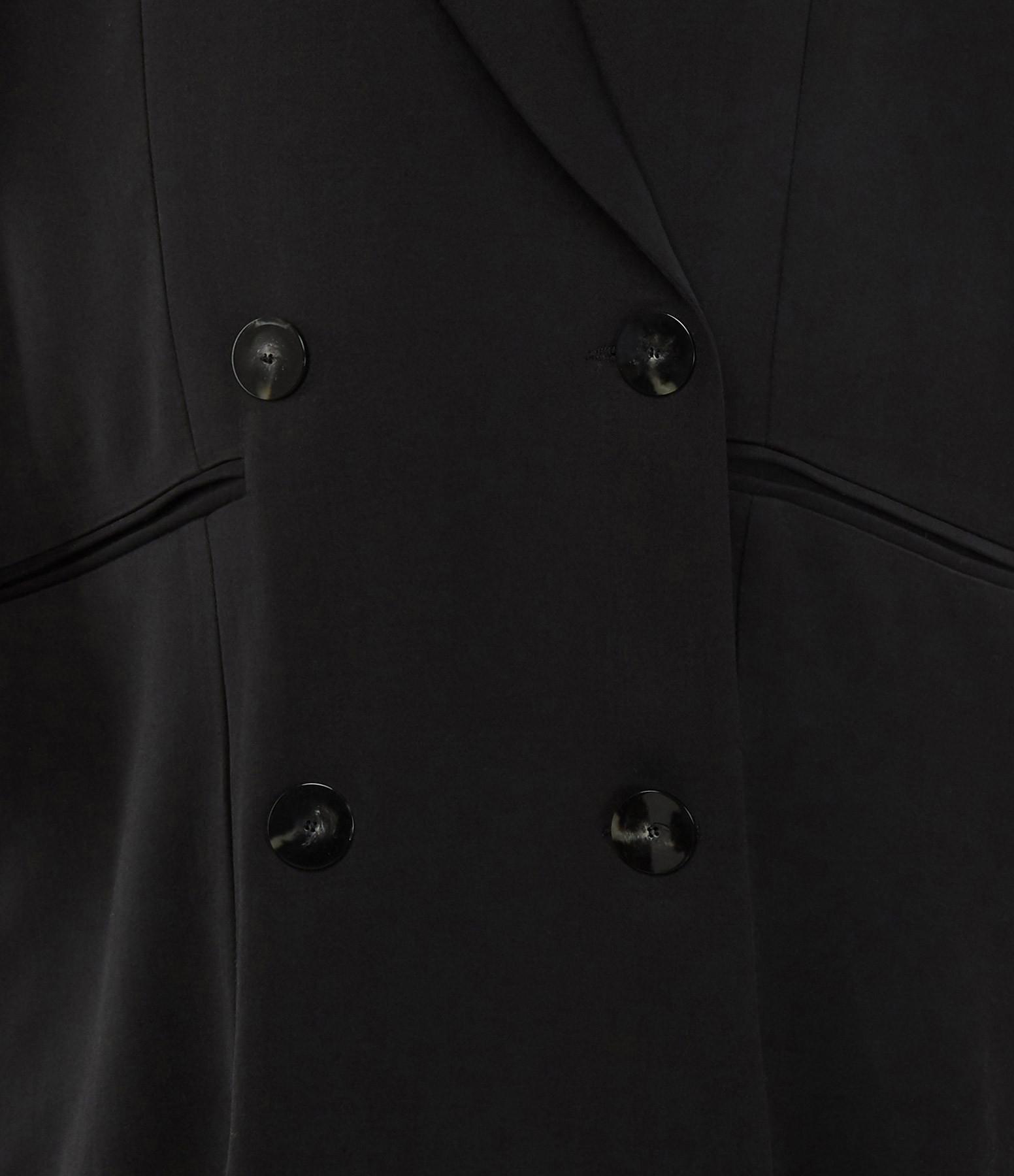 MARGAUX LONNBERG - Robe Oversize Croisé Laine Noir