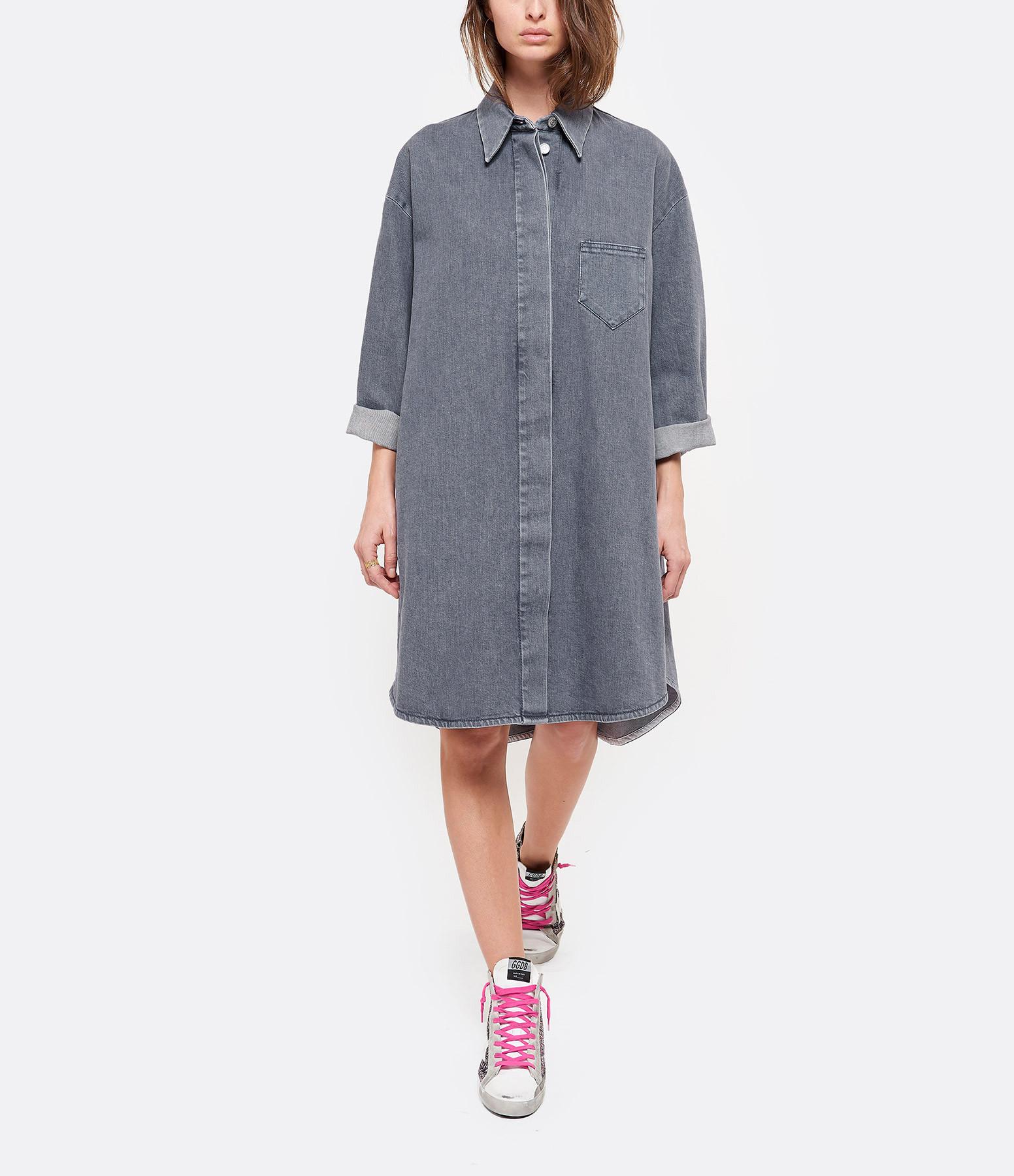 MM6 MAISON MARGIELA - Robe Chemise Coton Bleu Encre