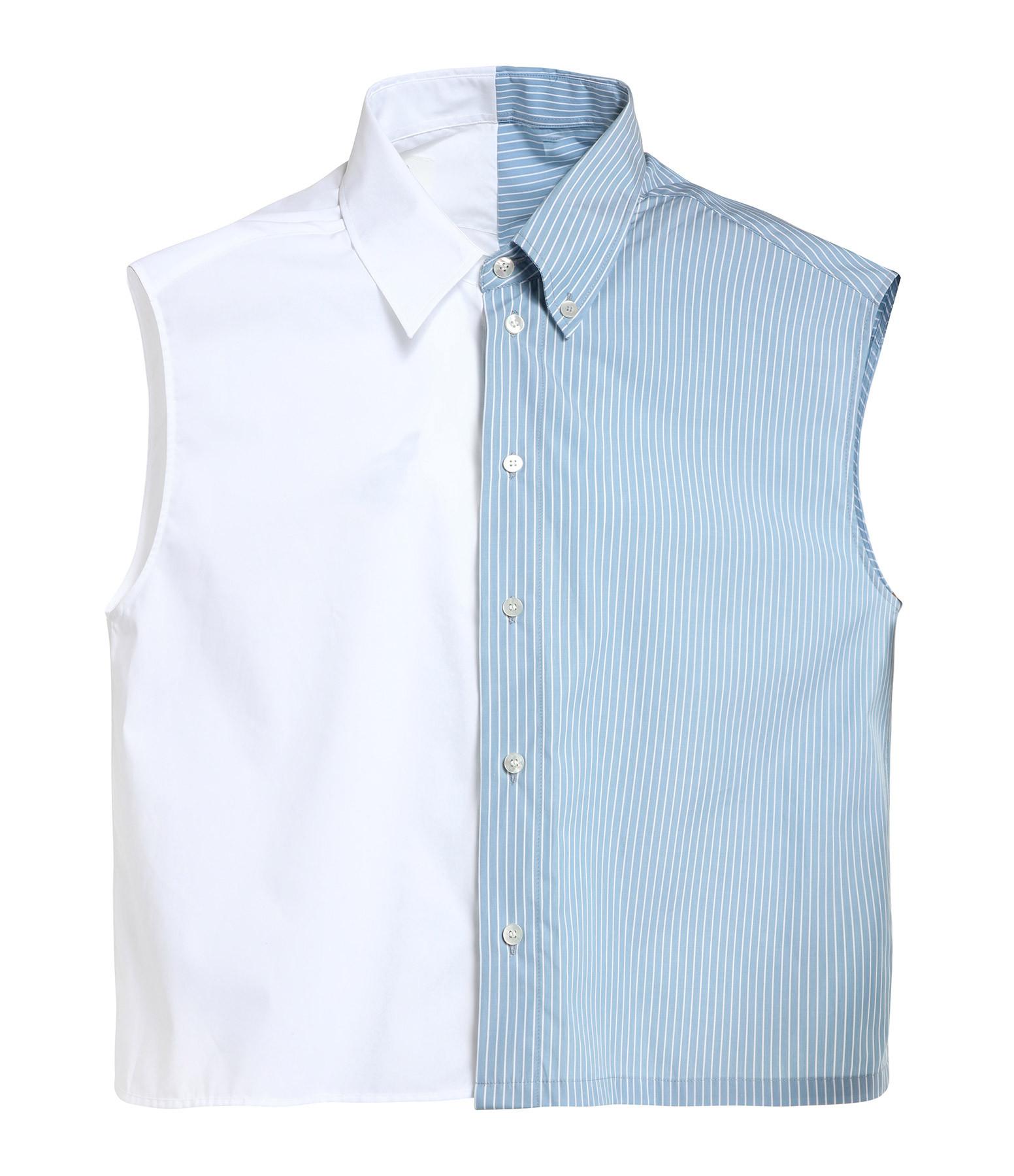MM6 MAISON MARGIELA - Chemise Volants Dos Rayures Blanc Bleu