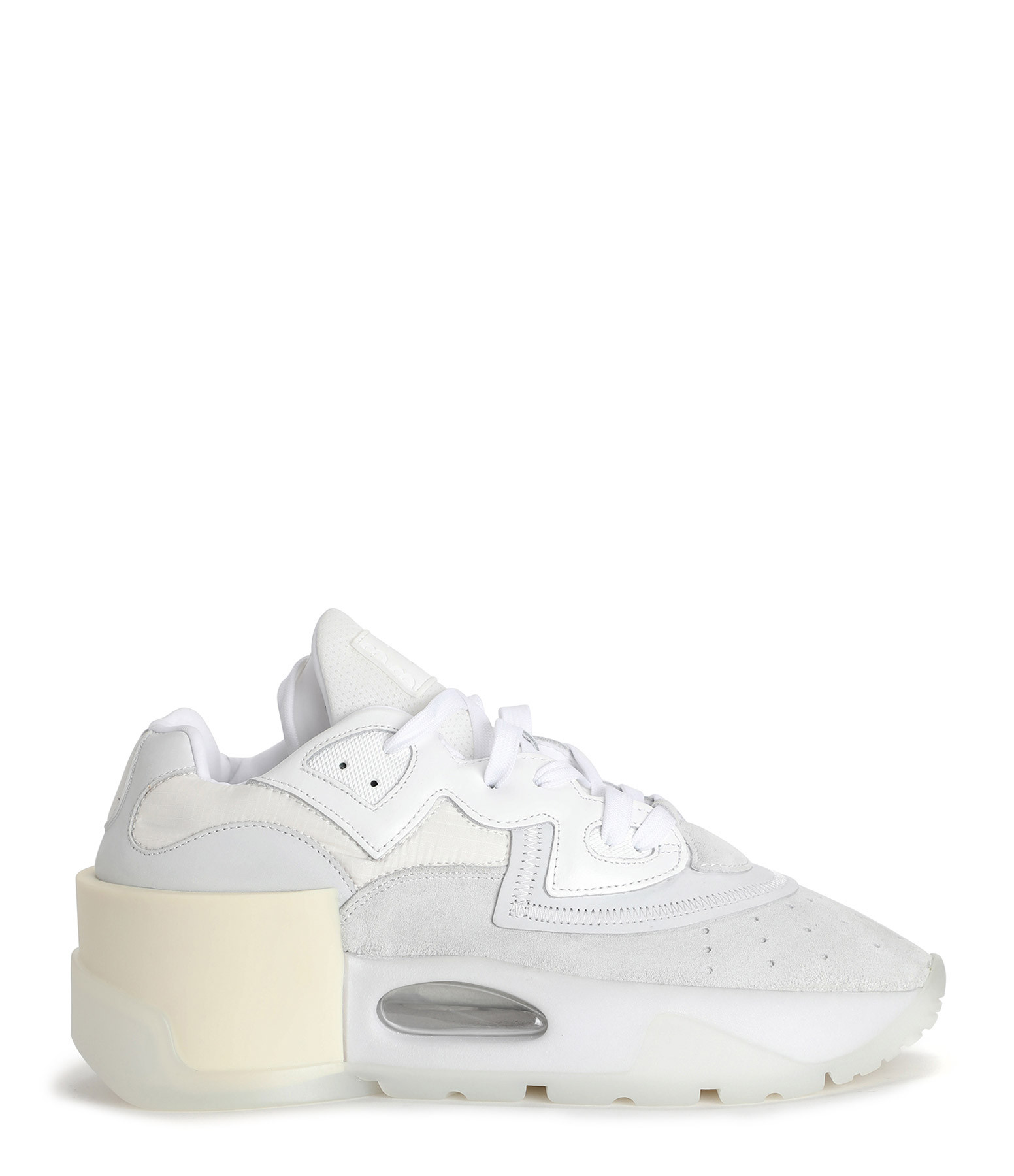 MM6 MAISON MARGIELA - Baskets Multimatières Cuir Mesh Nubuck Blanc