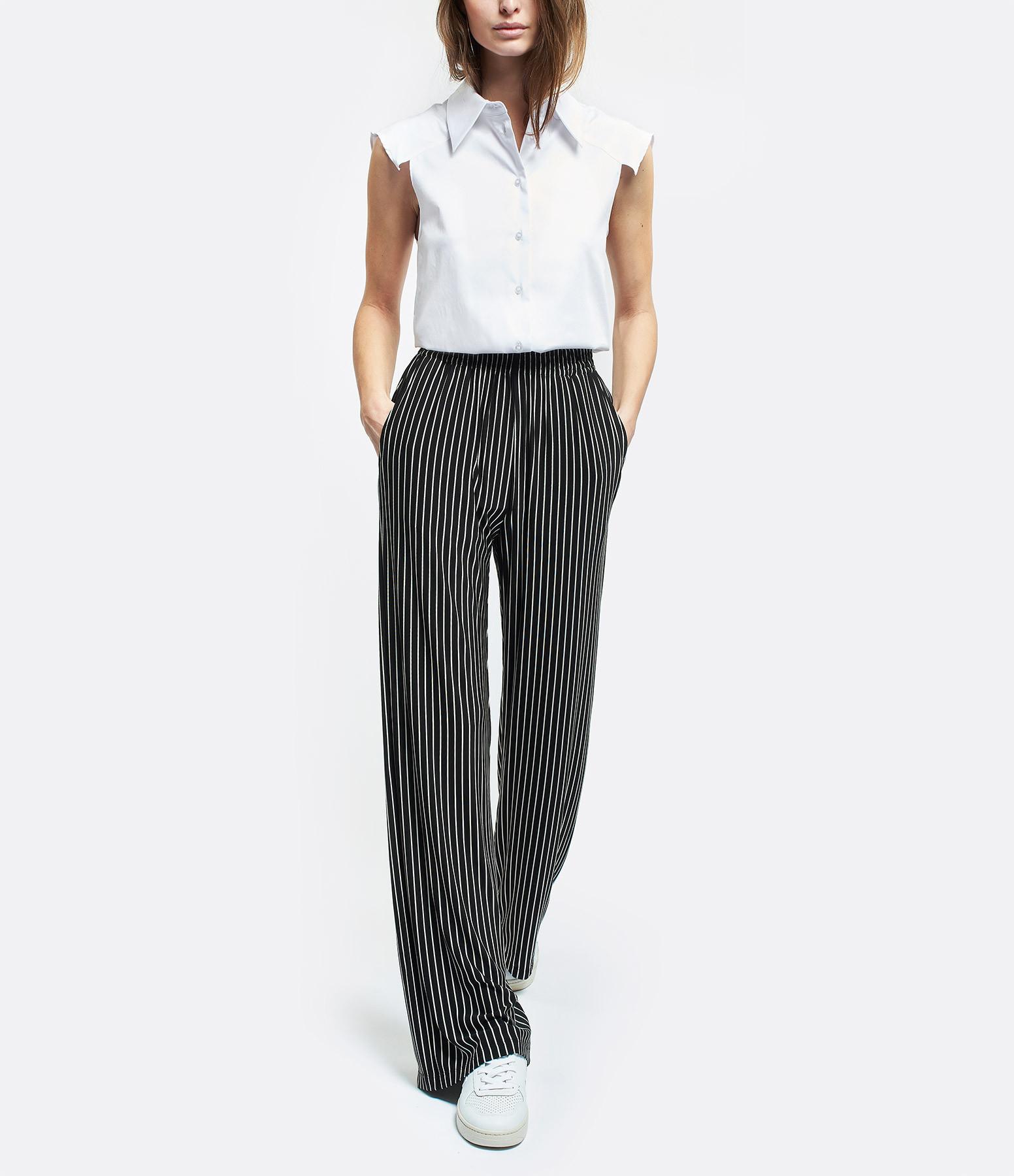 MM6 MAISON MARGIELA - Pantalon Palazzo Rayures Noir Blanc