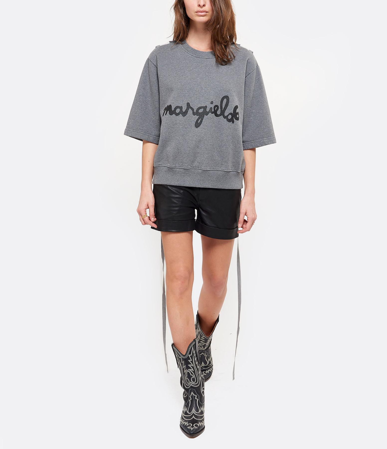 MM6 MAISON MARGIELA - Sweatshirt Ruban Coton Gris Chiné