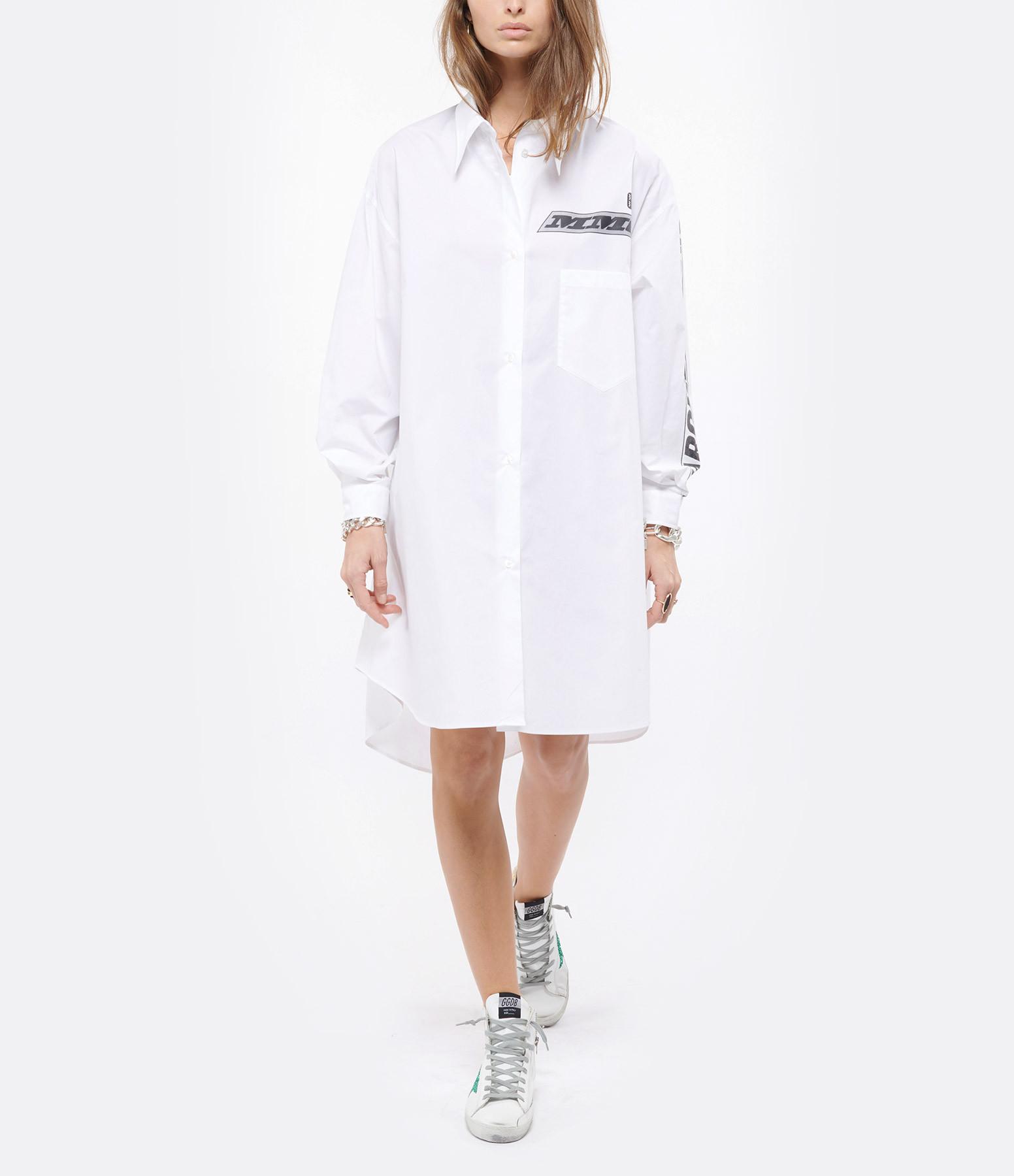MM6 MAISON MARGIELA - Robe Chemise Oversize Coton Popeline Blanc