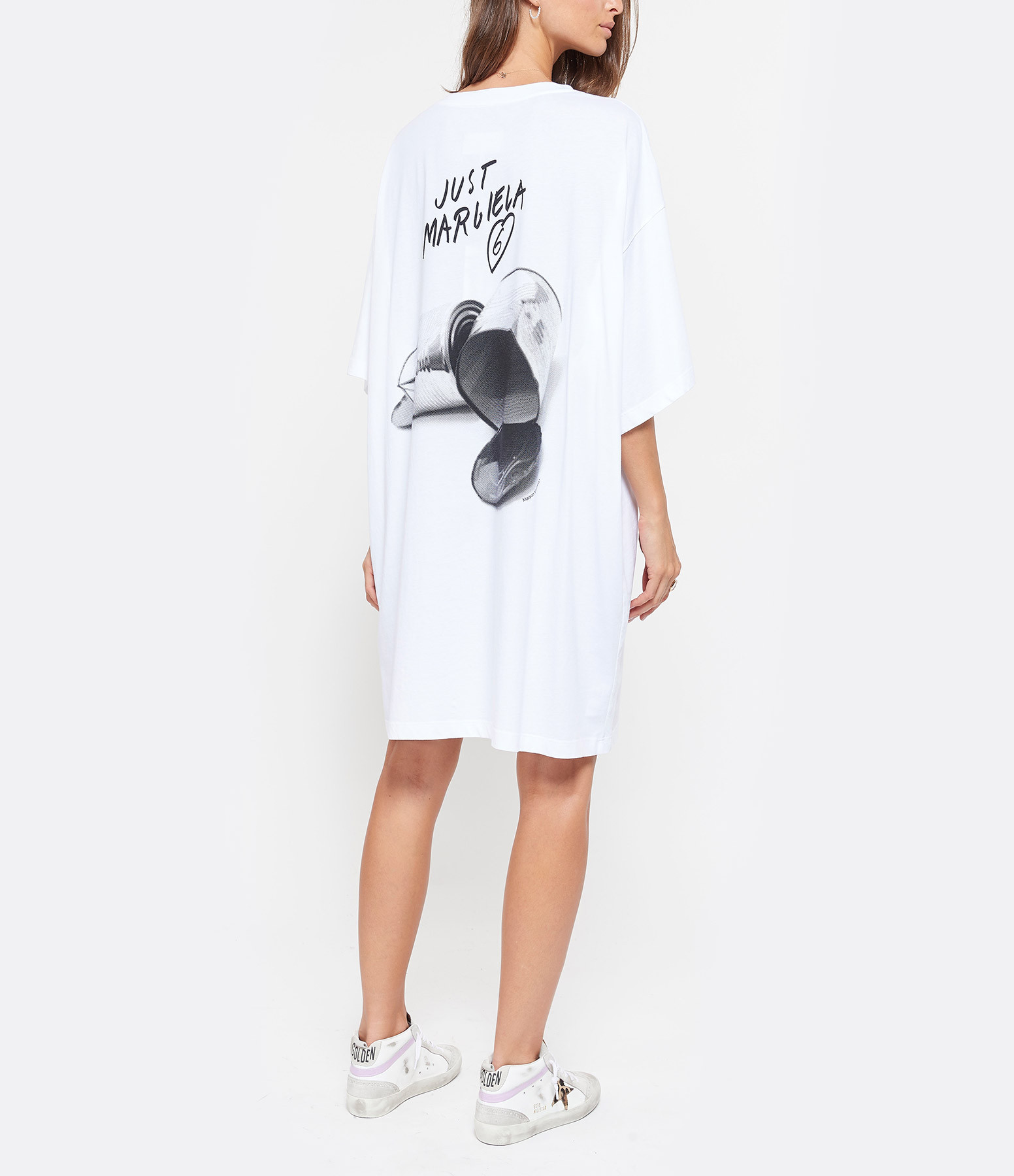MM6 MAISON MARGIELA - Tee-shirt Long Imprimé Dos Blanc,Collection Studio