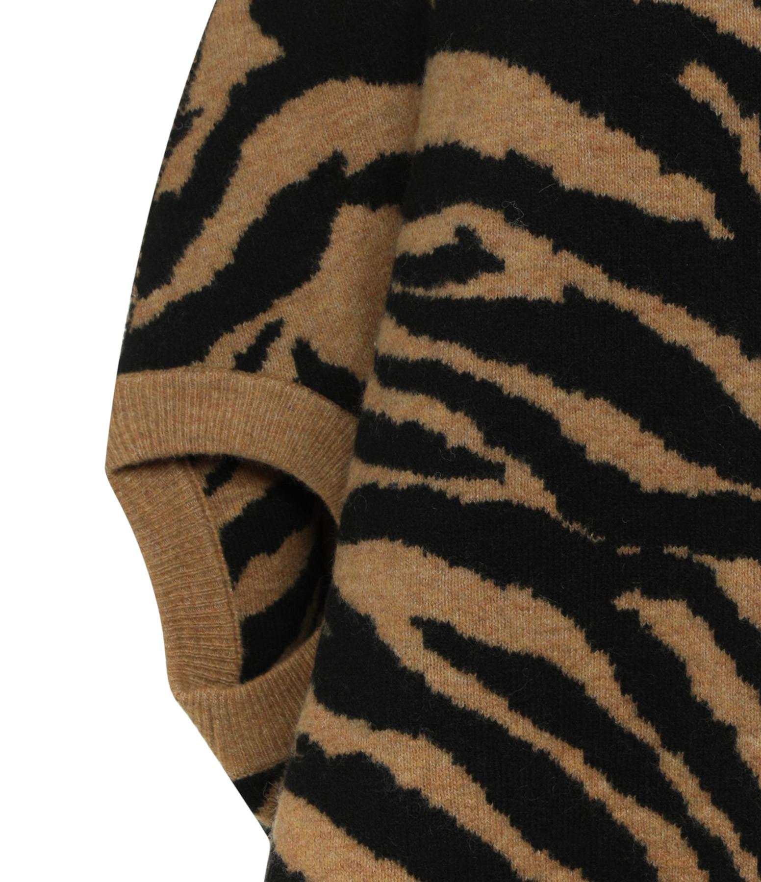 MM6 MAISON MARGIELA - Sweatshirt Zèbre Camel Noir, Collection Studio