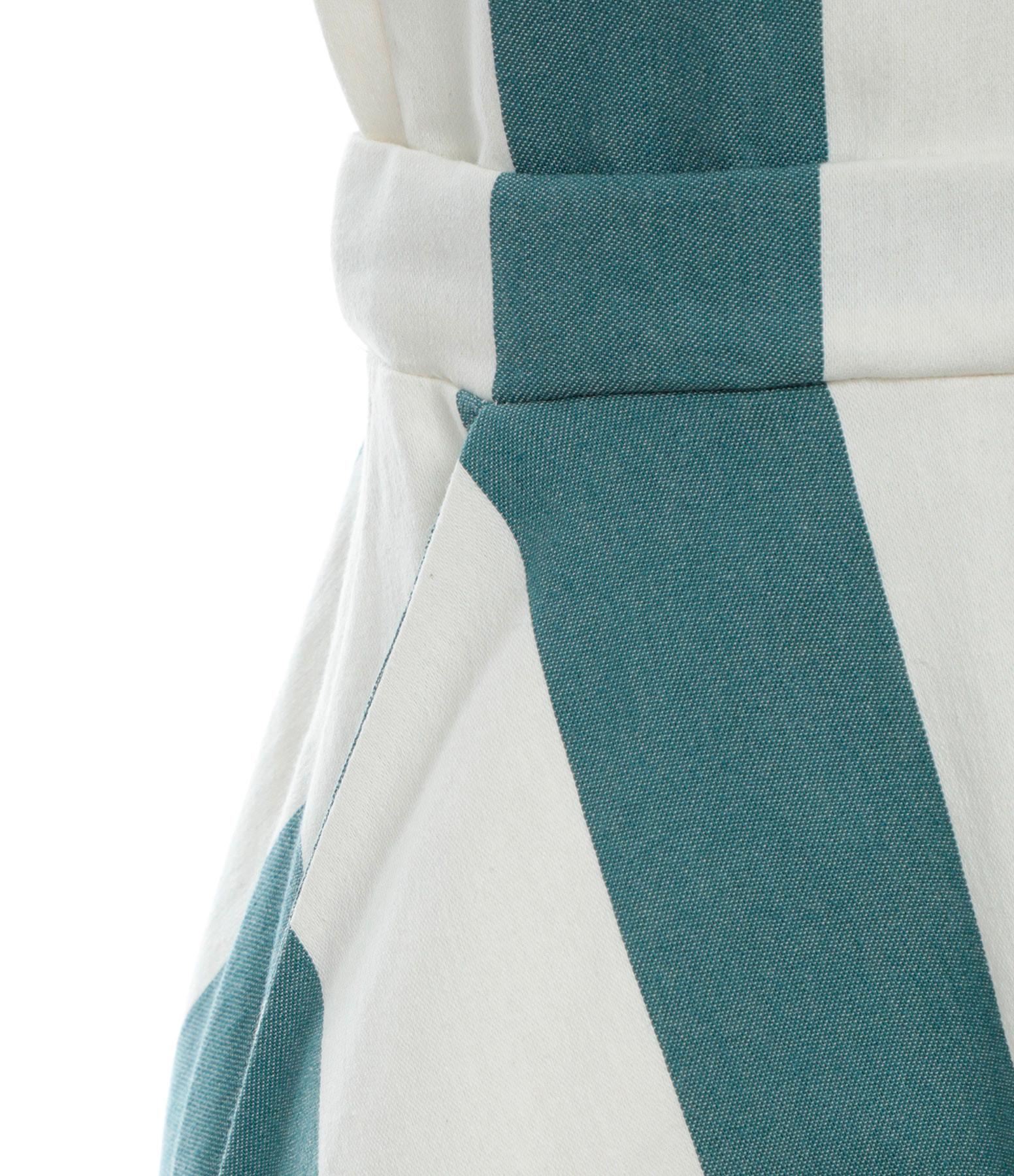 MODETROTTER - Robe Marion Coton Imprimé Escalier Bleu Écru
