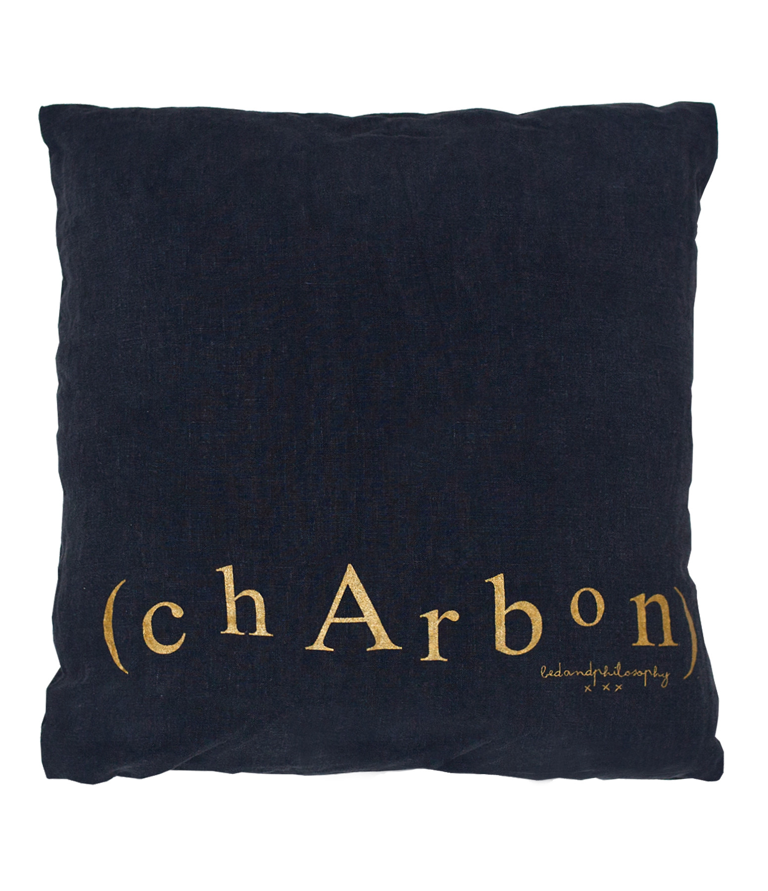 BED AND PHILOSOPHY - Coussin Molly Lin Charbon Print Doré