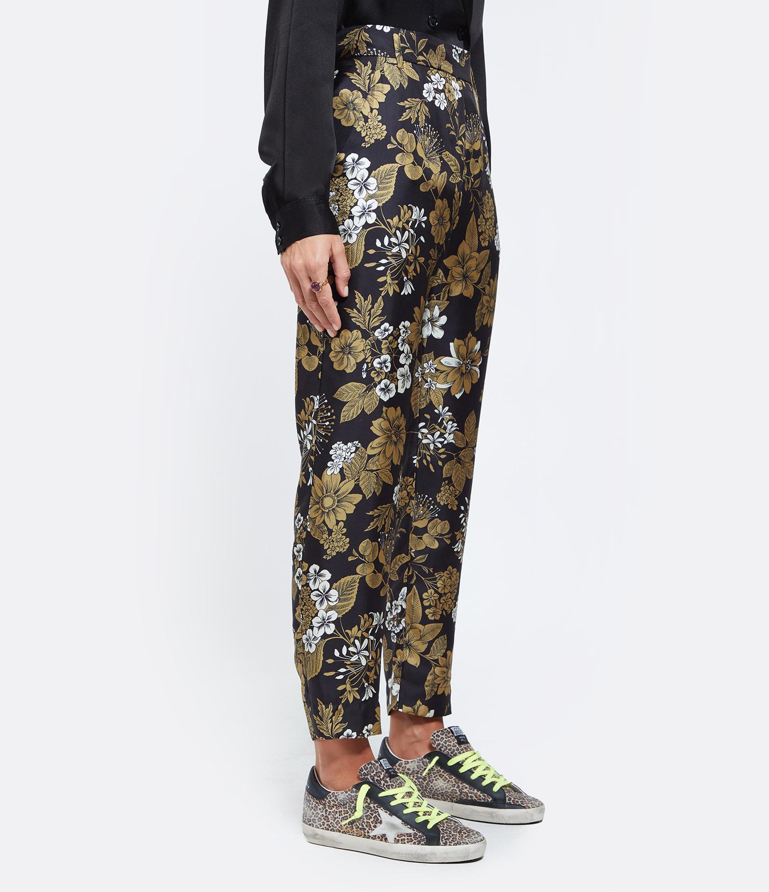 MOMONI - Pantalon Avena Soie Noir Tabac