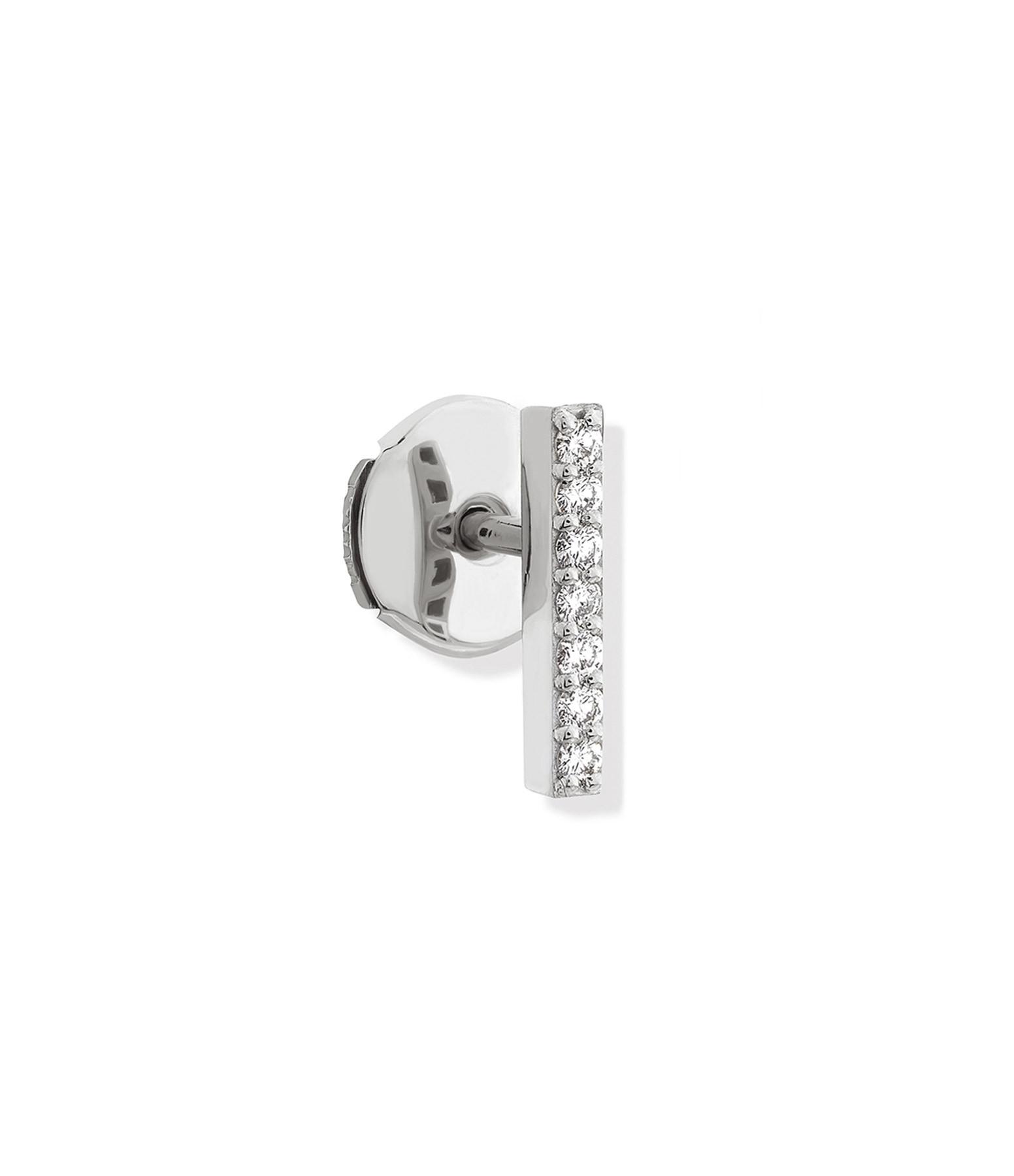 NAVA JOAILLERIE - Boucle d'oreille Barrette Hash Or Blanc (vendue à l'unité)