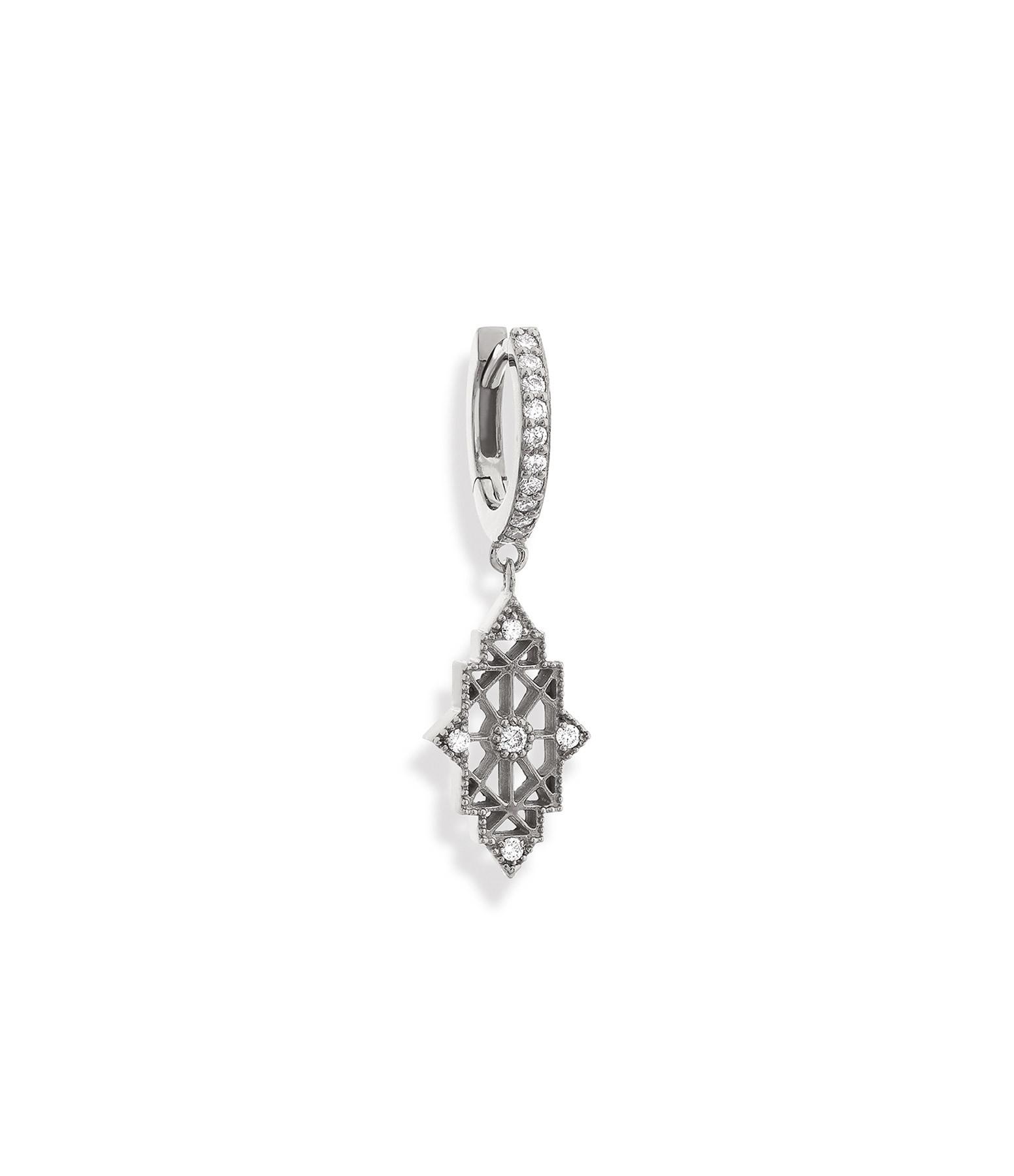 NAVA JOAILLERIE - Boucle d'oreille Nour Or Blanc (vendue à l'unité)