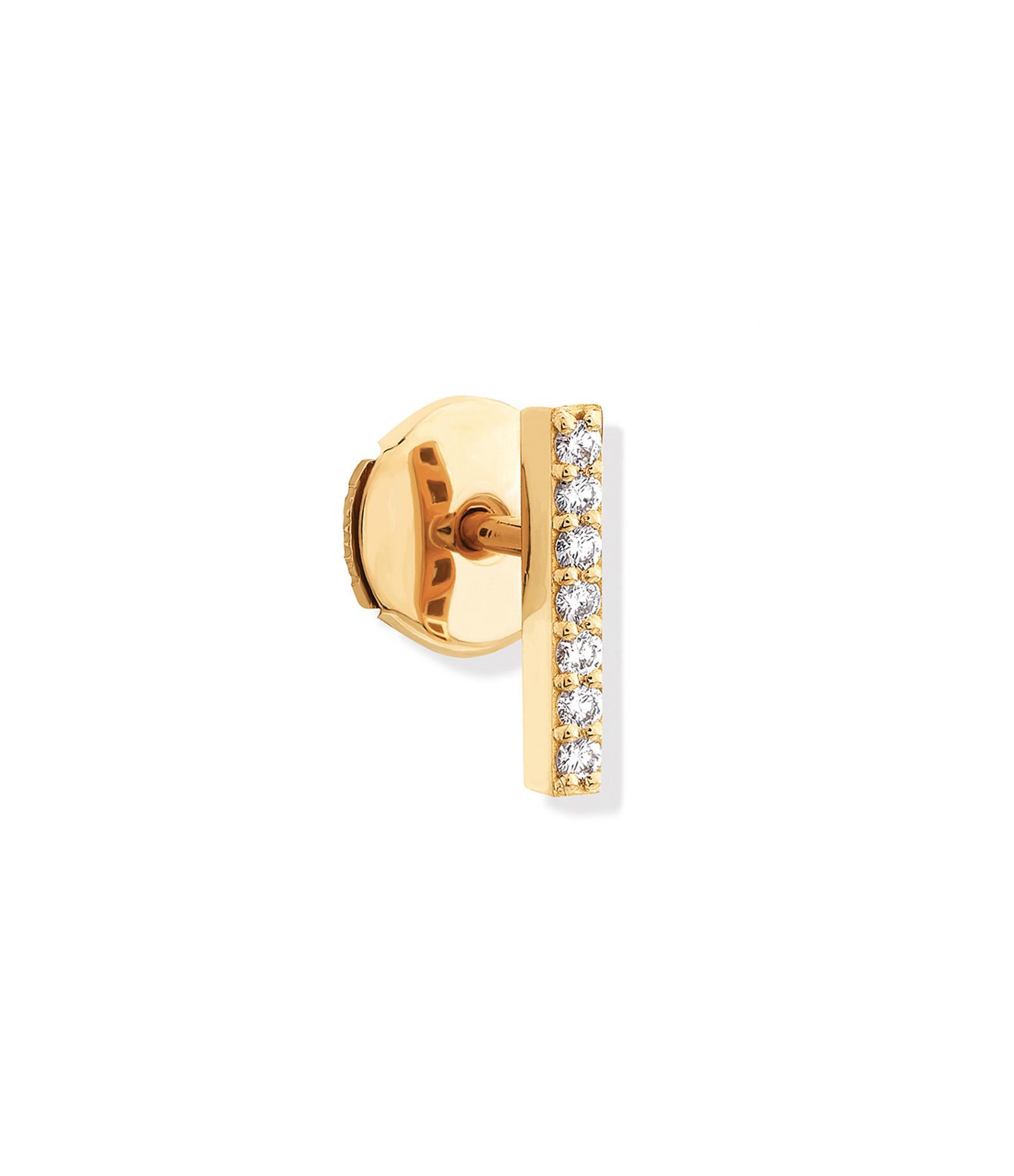 NAVA JOAILLERIE - Mini Créole Barrette Hash Diamants Or Jaune (vendue à l'unité)