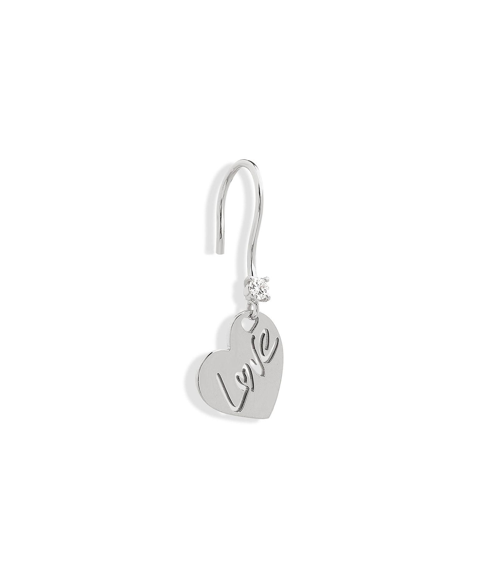 NAVA JOAILLERIE - Boucle d'oreille Love Or Blanc (vendue à l'unité)