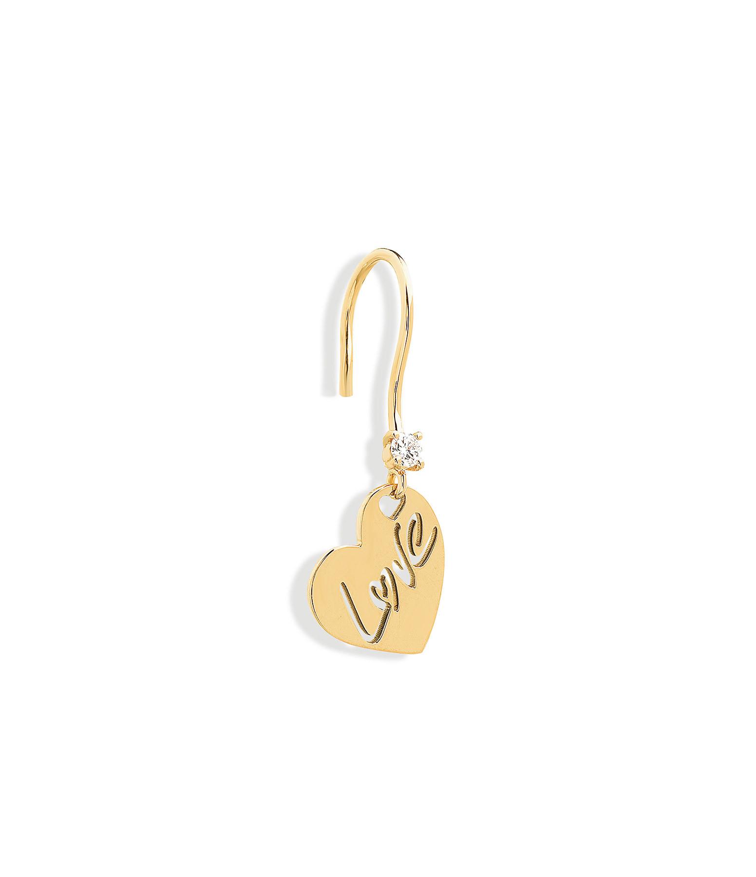 NAVA JOAILLERIE - Boucle d'oreille Love Or Jaune (vendue à l'unité)
