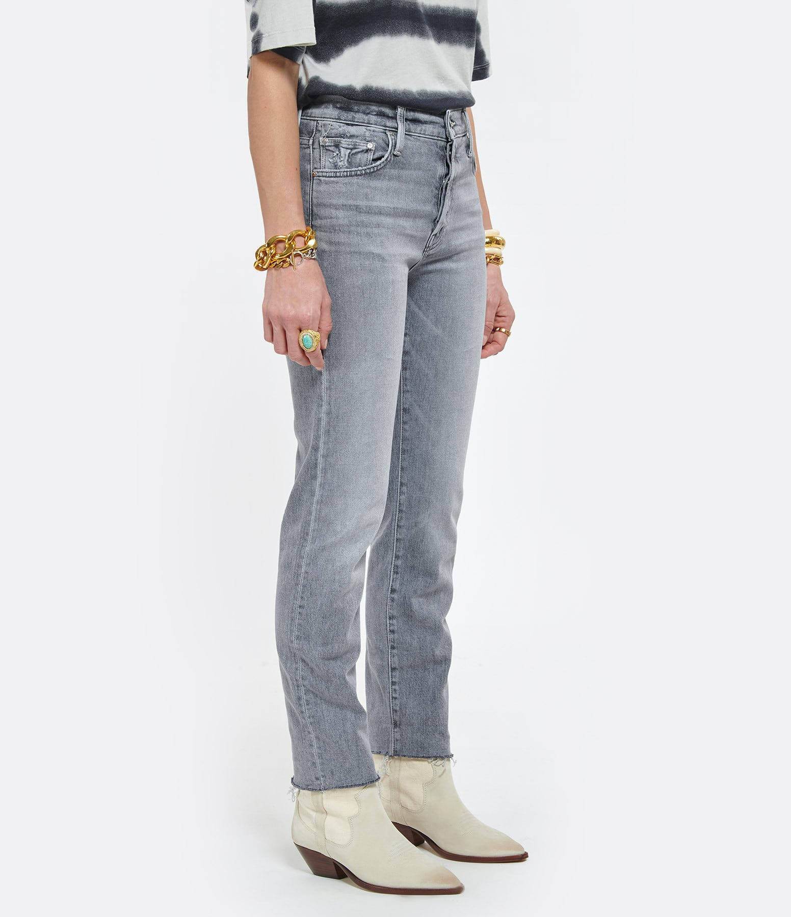 MOTHER - Jean The Scrapper Cuff Ankle Fray Shadows In the Grass