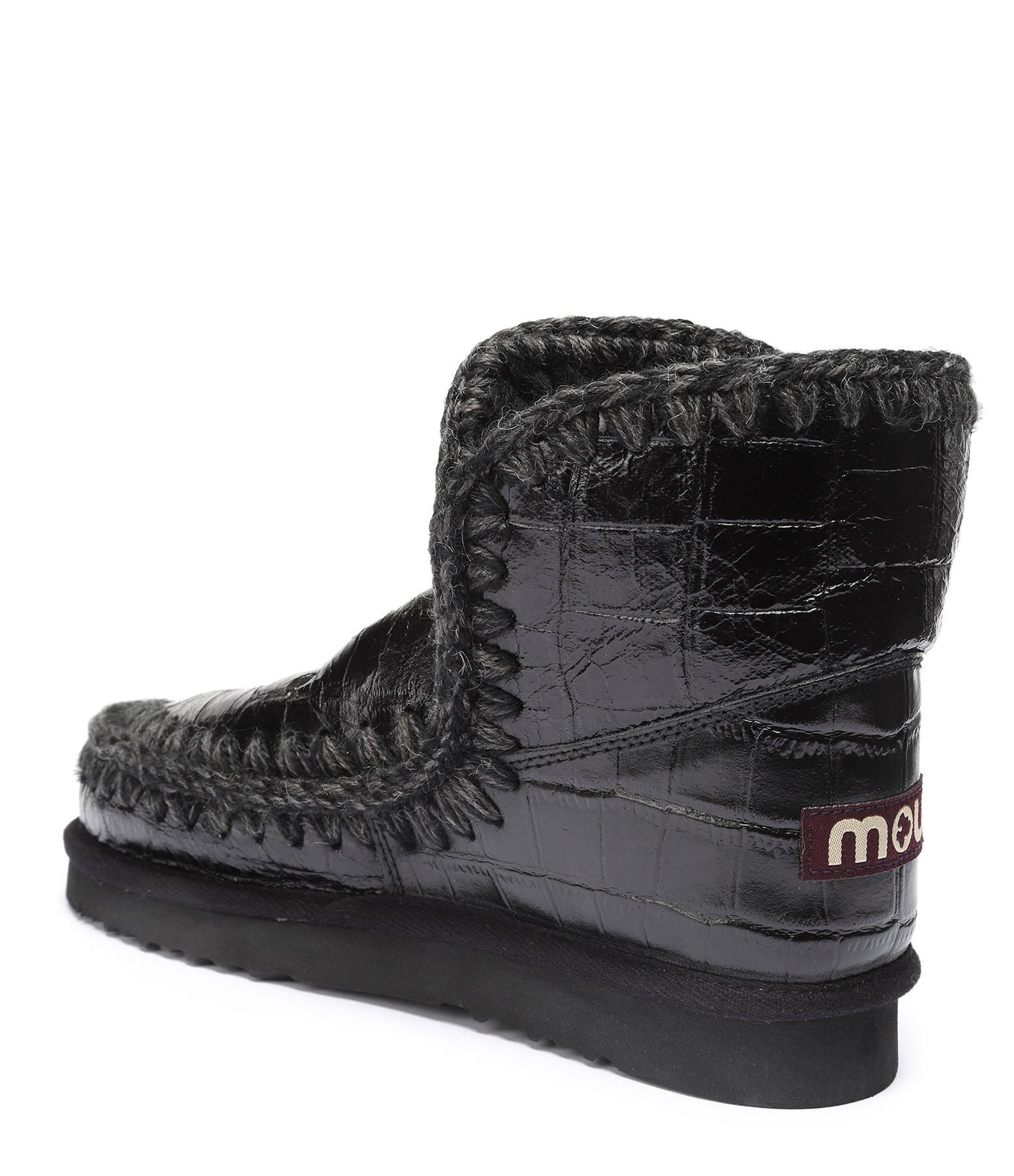 MOU - Bottines Compensées Eskimo 18 Croco Noir