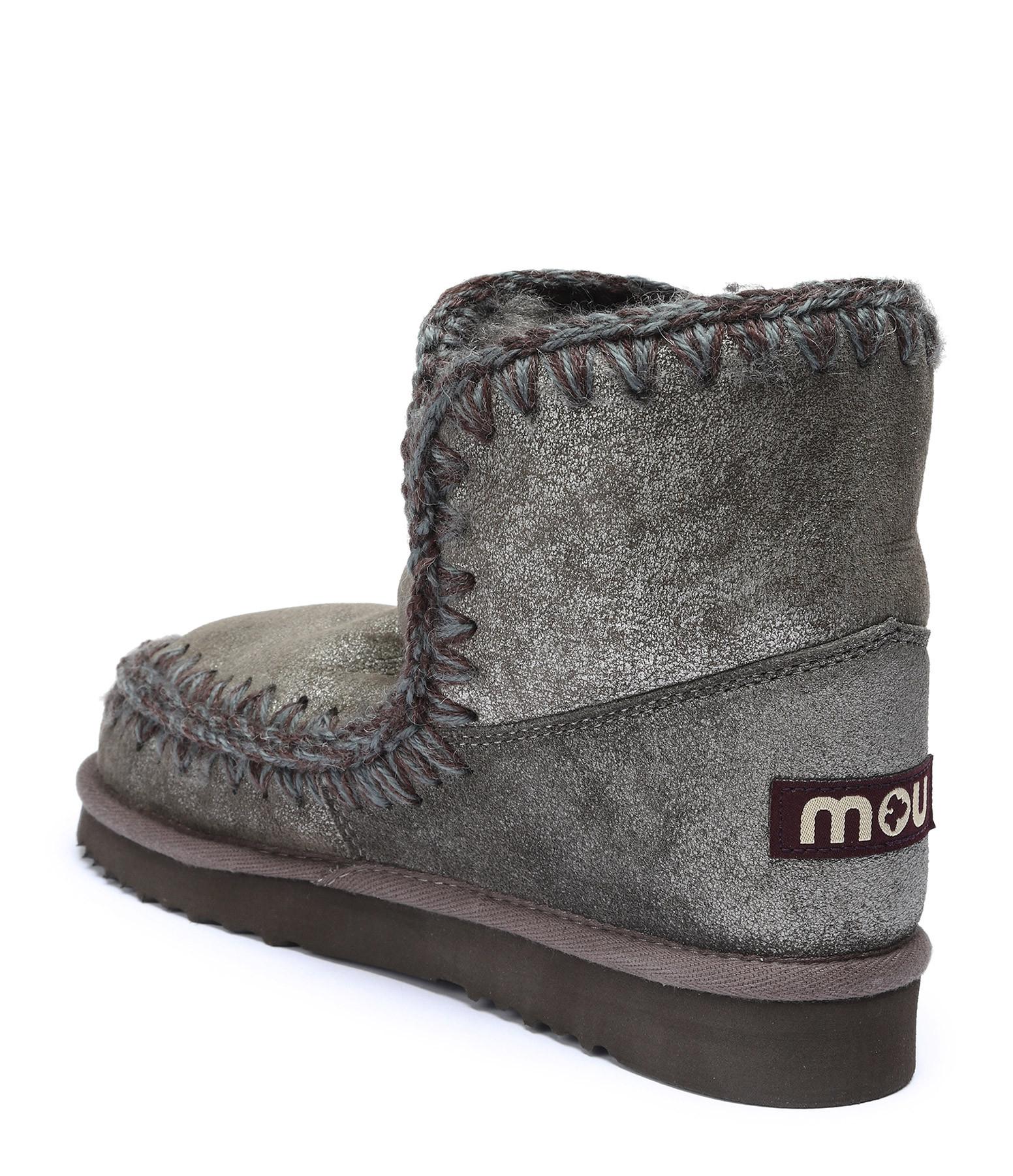 MOU - Bottines Compensées Eskimo 18 Gris Métallique