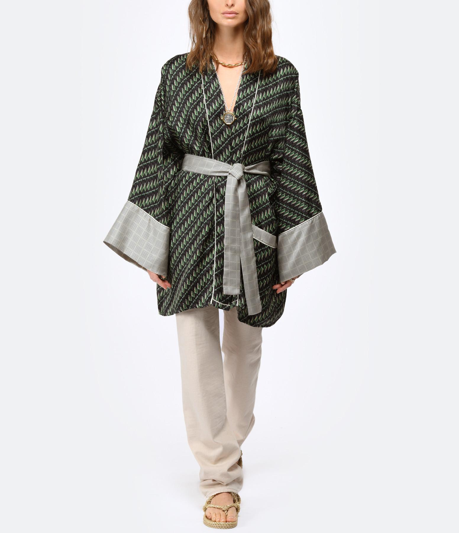 MOW PARIS - Kimono Maggy Soie Imprimé Dominico Alvaro