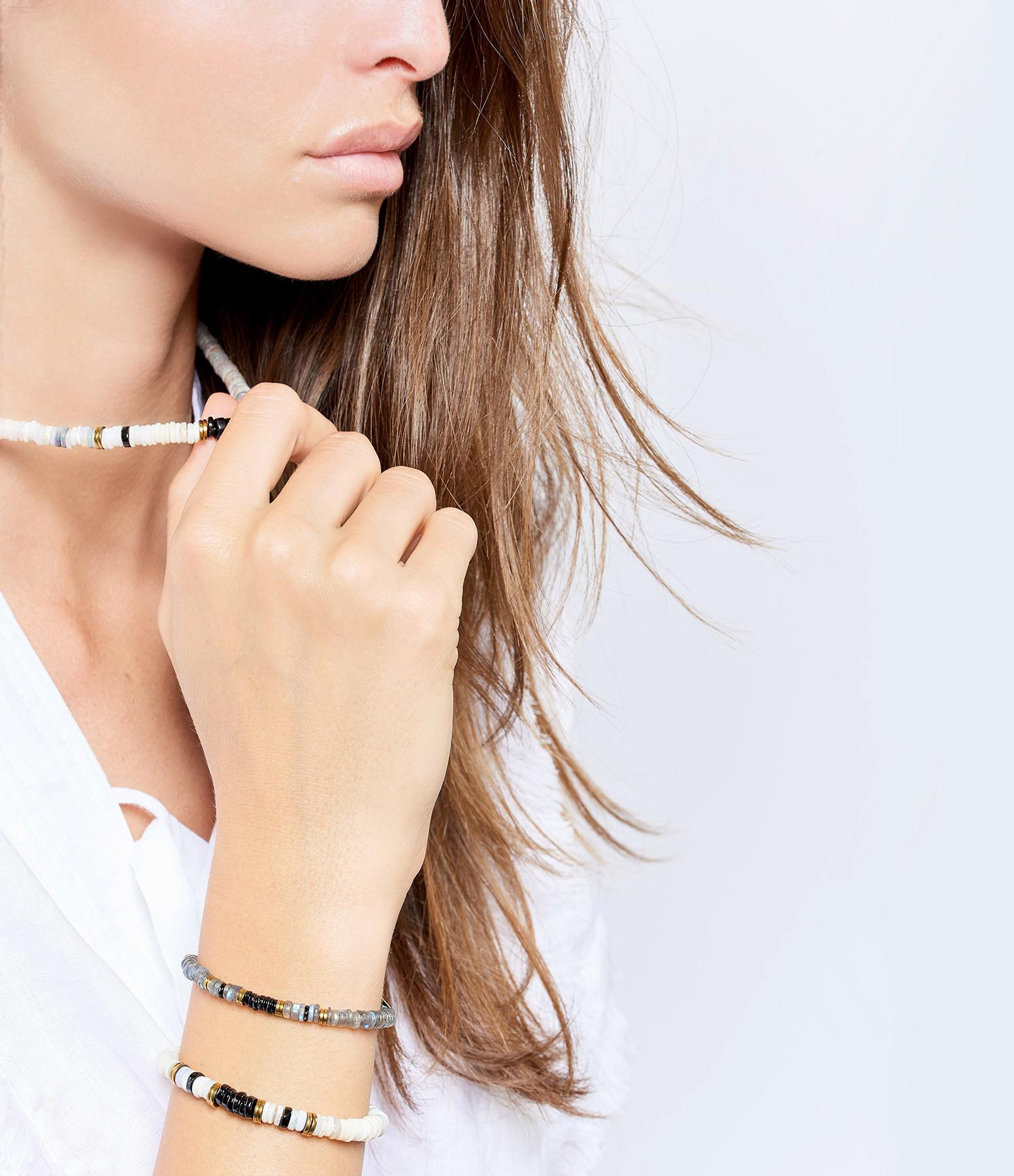 MON PRECIEUX GEM - Bracelet Puka Onyx Labradorite