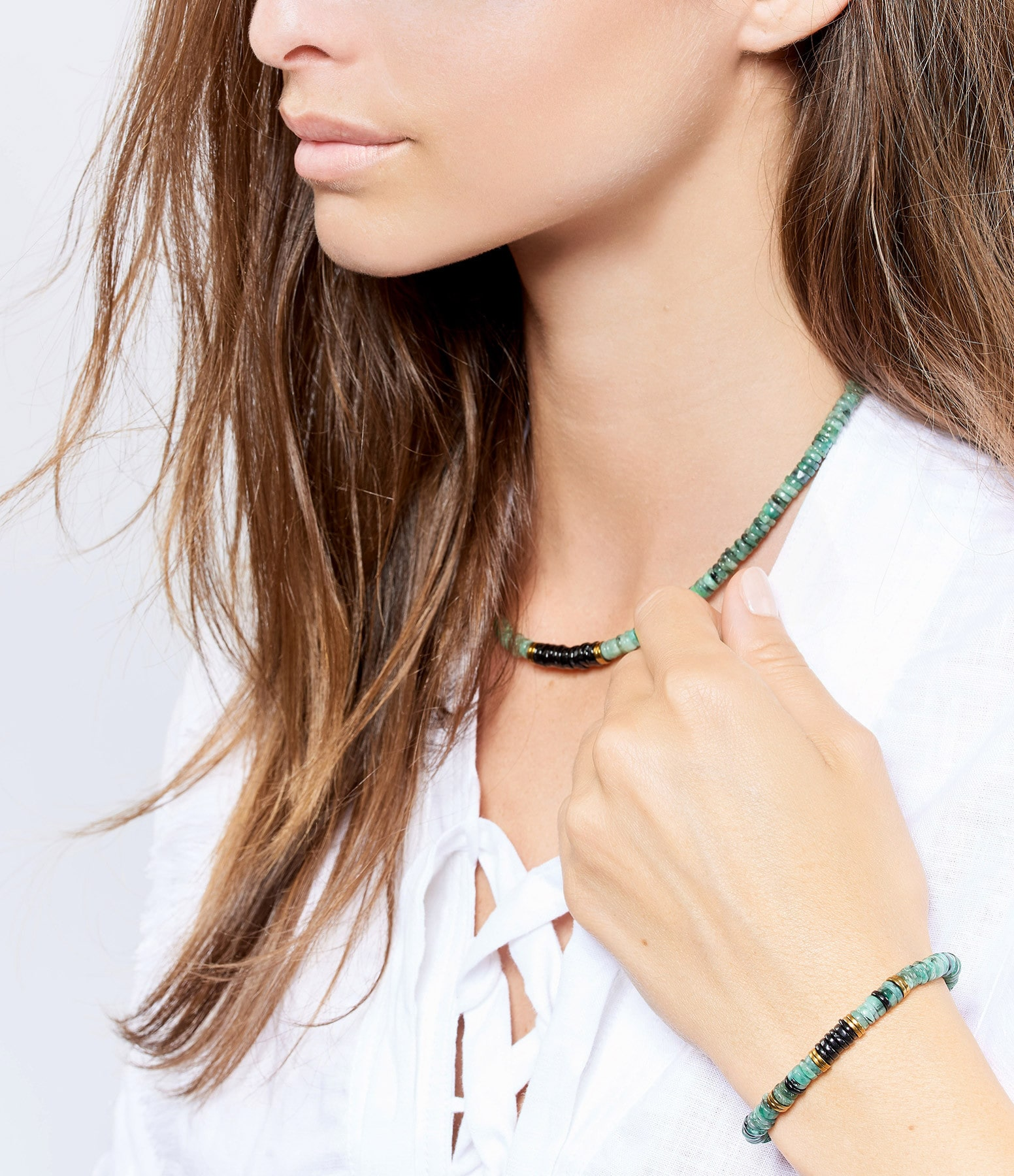 MON PRECIEUX GEM - Bracelet Puka Onyx Emeraude