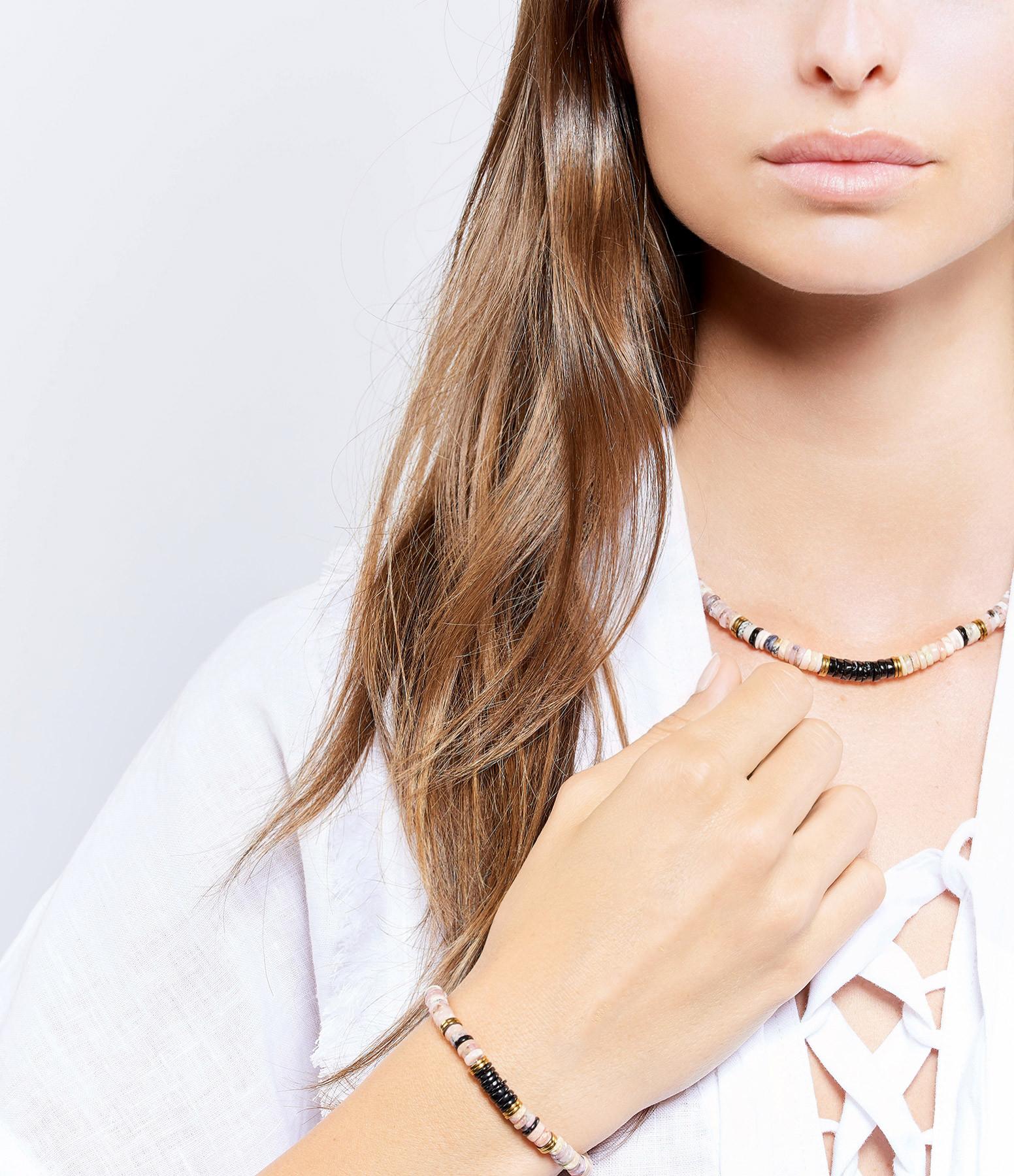 MON PRECIEUX GEM - Bracelet Puka Onyx Opale Rose