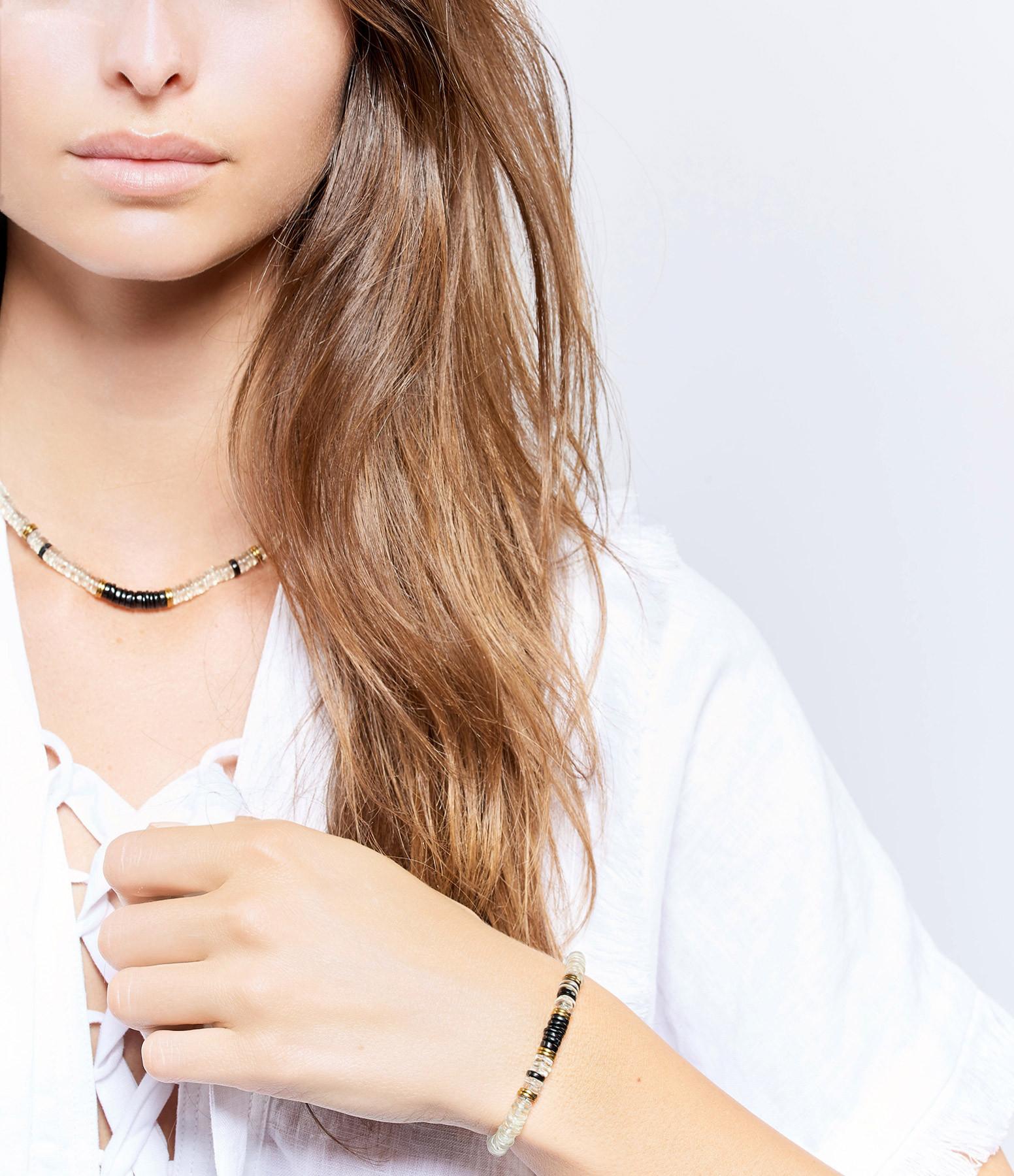 MON PRECIEUX GEM - Bracelet Puka Onyx Quartz Vert