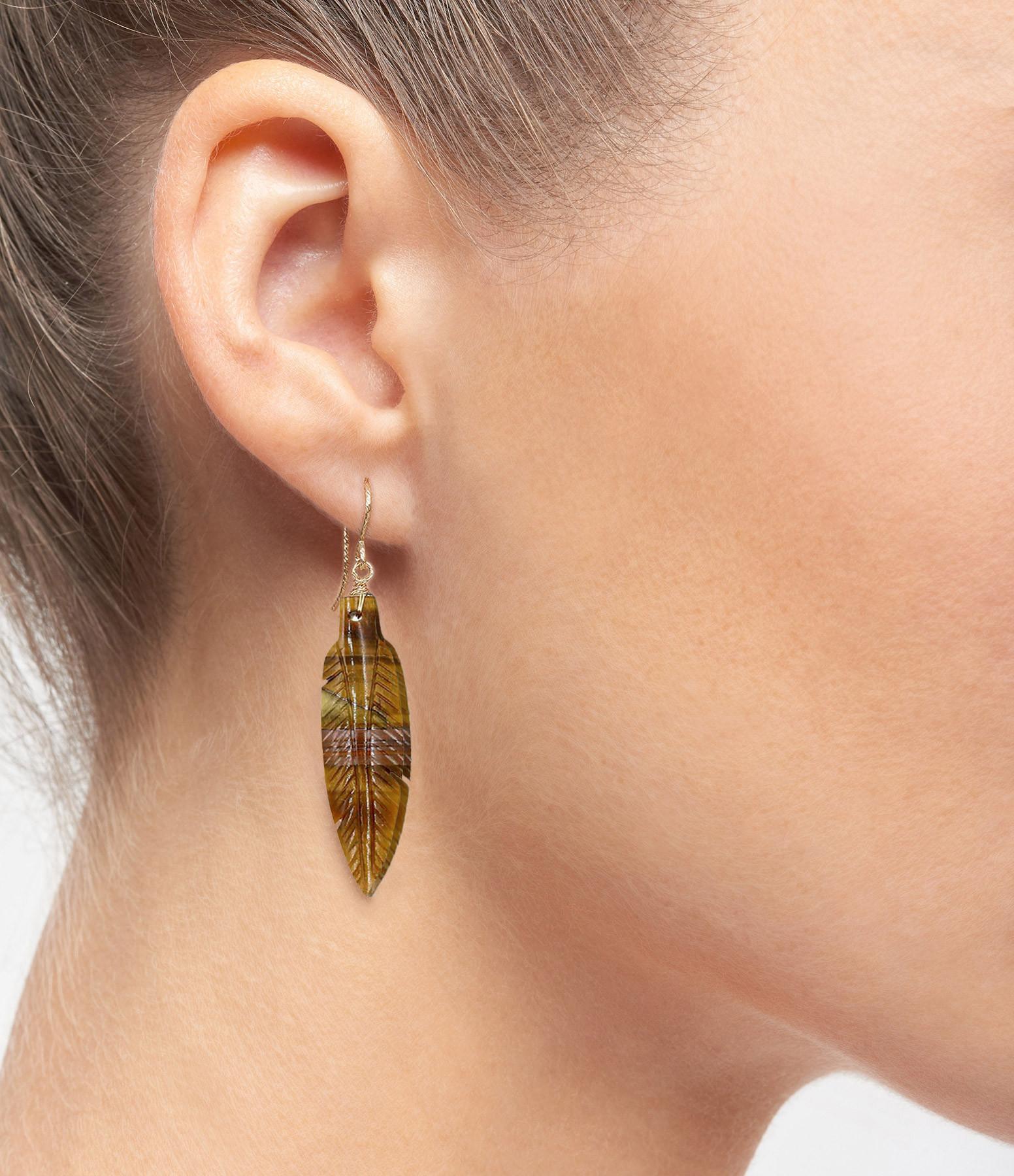 MON PRECIEUX GEM - Boucle d'oreille Plume Oeil de Tigre (vendue à l'unité)