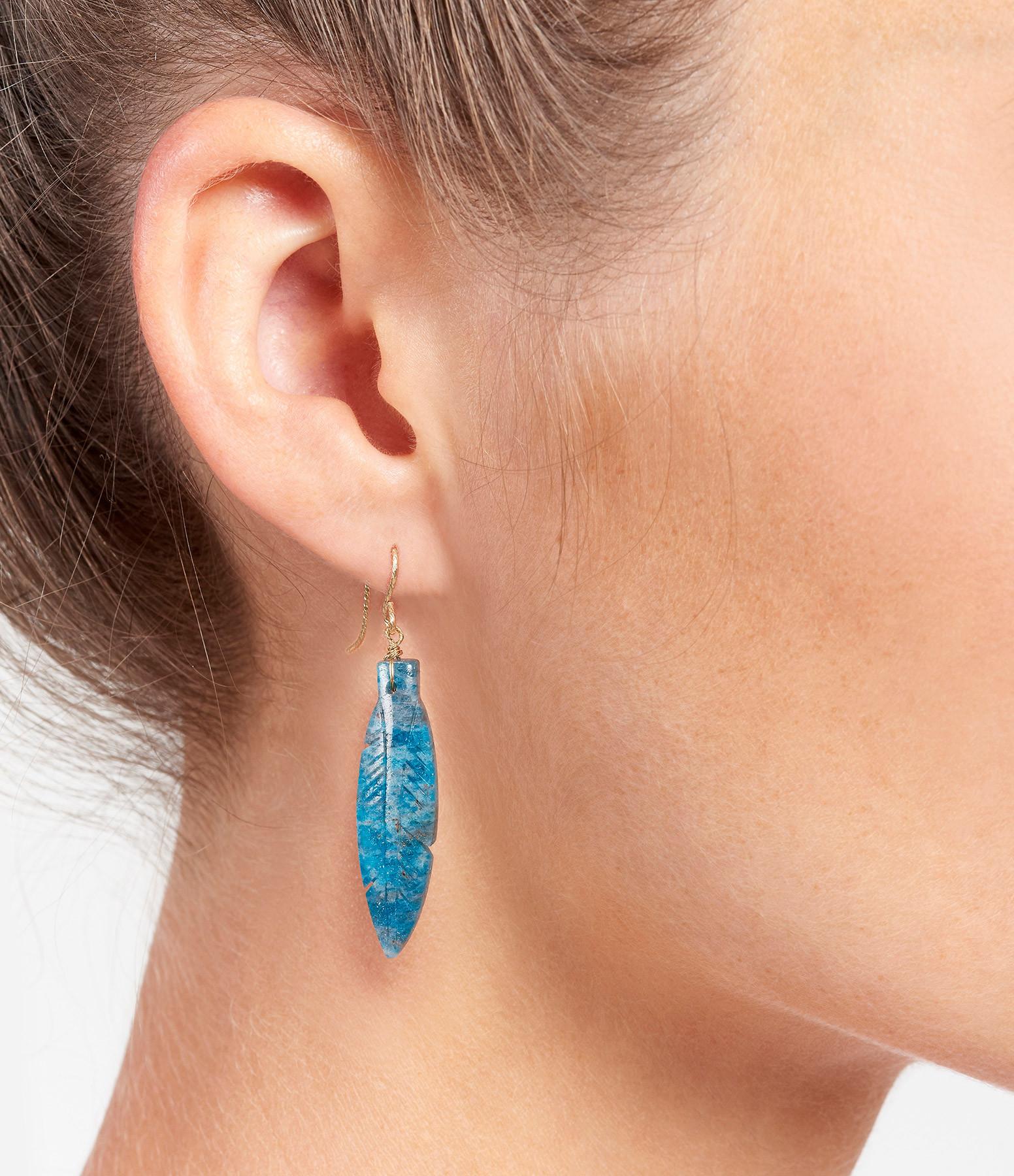 MON PRECIEUX GEM - Boucle d'oreille Plume Apatite (vendue à l'unité)