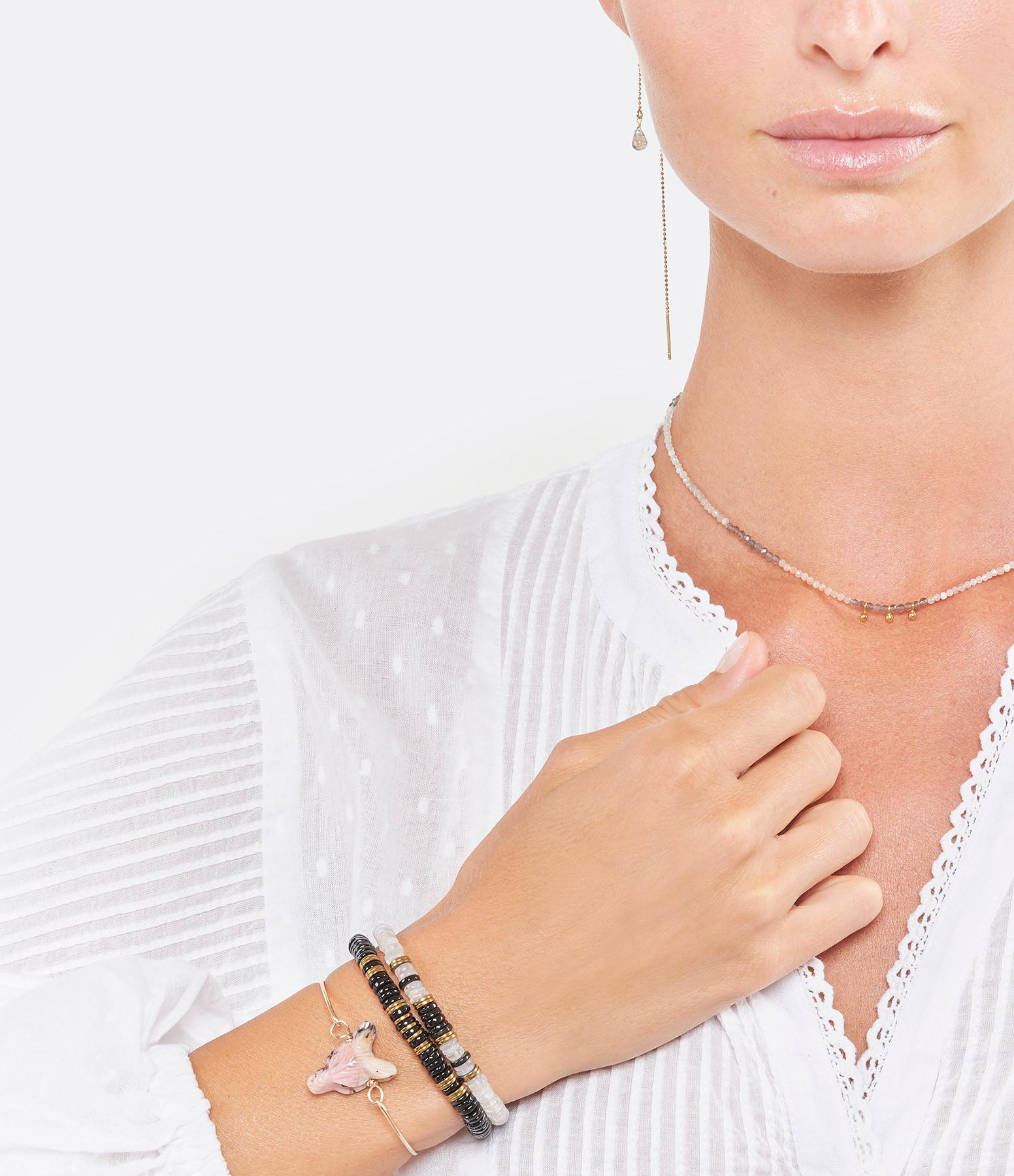 MON PRECIEUX GEM - Bracelet Puka Onyx Hématite