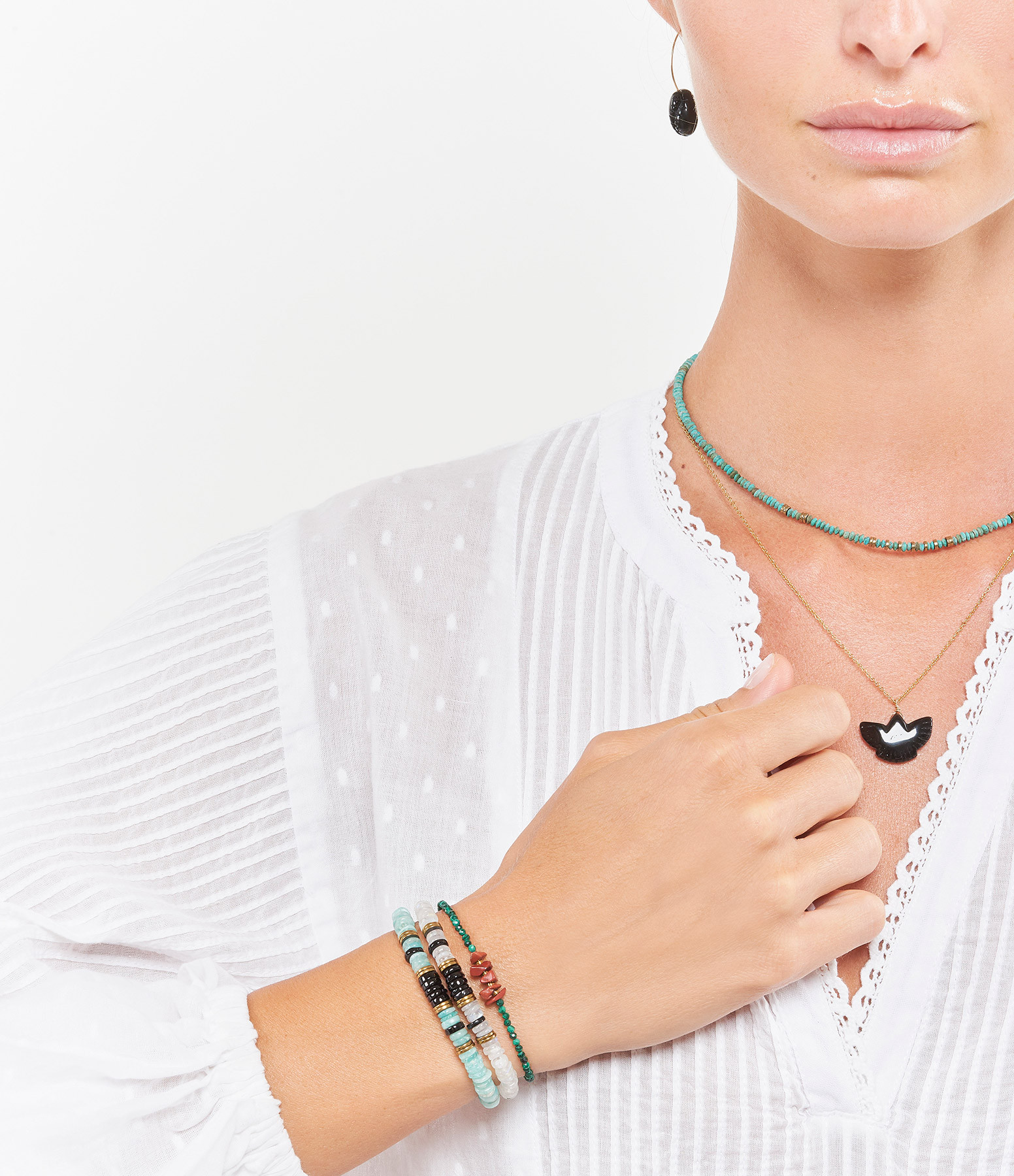 MON PRECIEUX GEM - Bracelet Puka Onyx Pierre de Lune