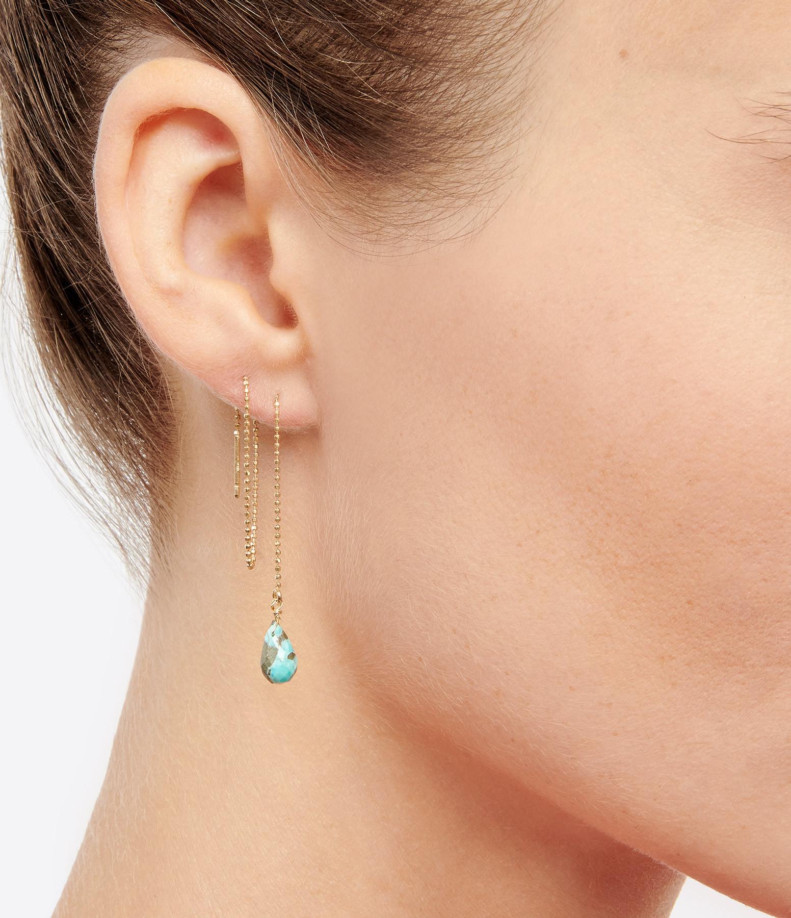 MON PRECIEUX GEM - Boucle d'oreille Chaîne Goutte Turquoise (unité)