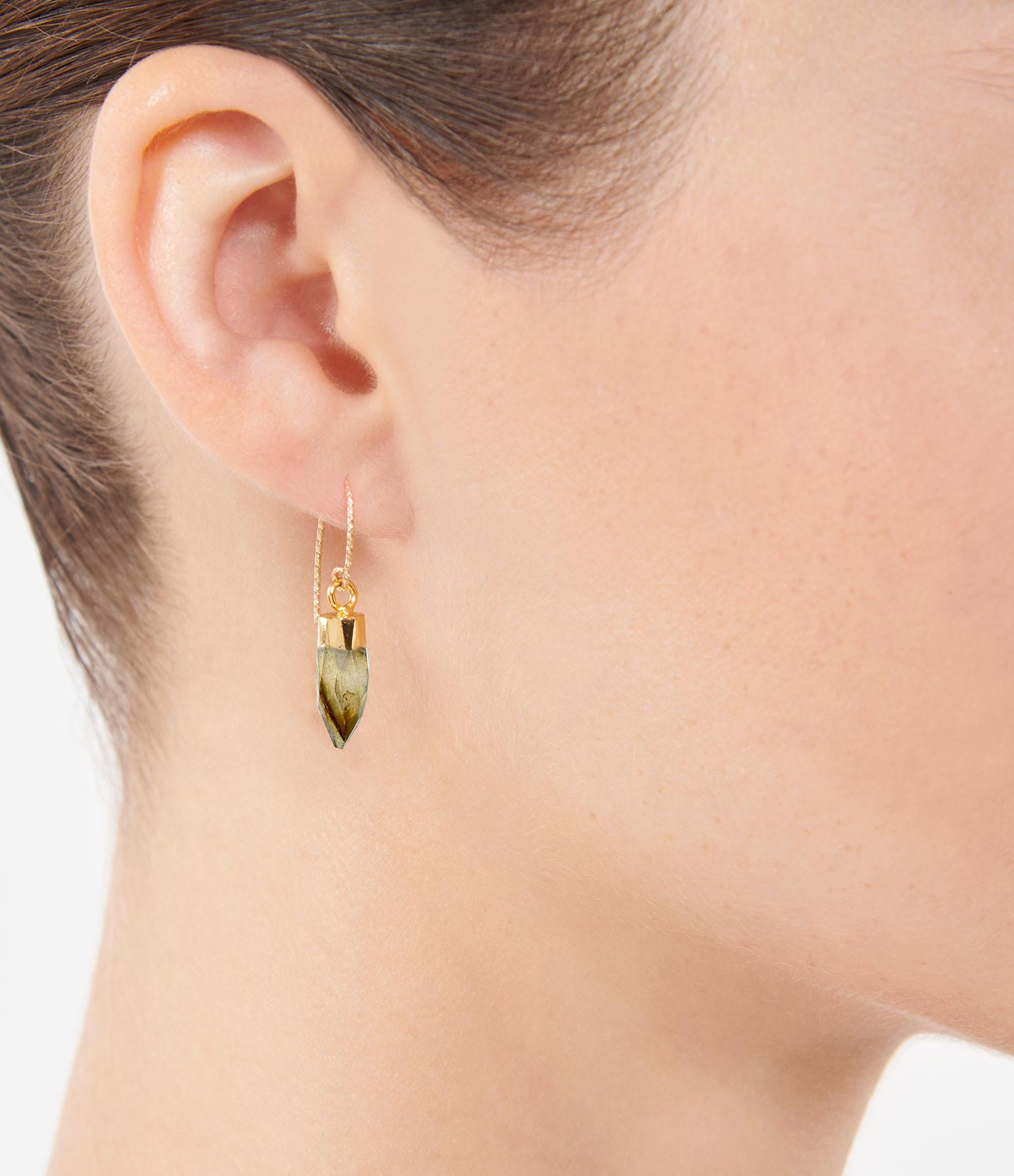 MON PRECIEUX GEM - Boucle d'oreille Rocher Roucas Labradorite (vendue à l'unité)
