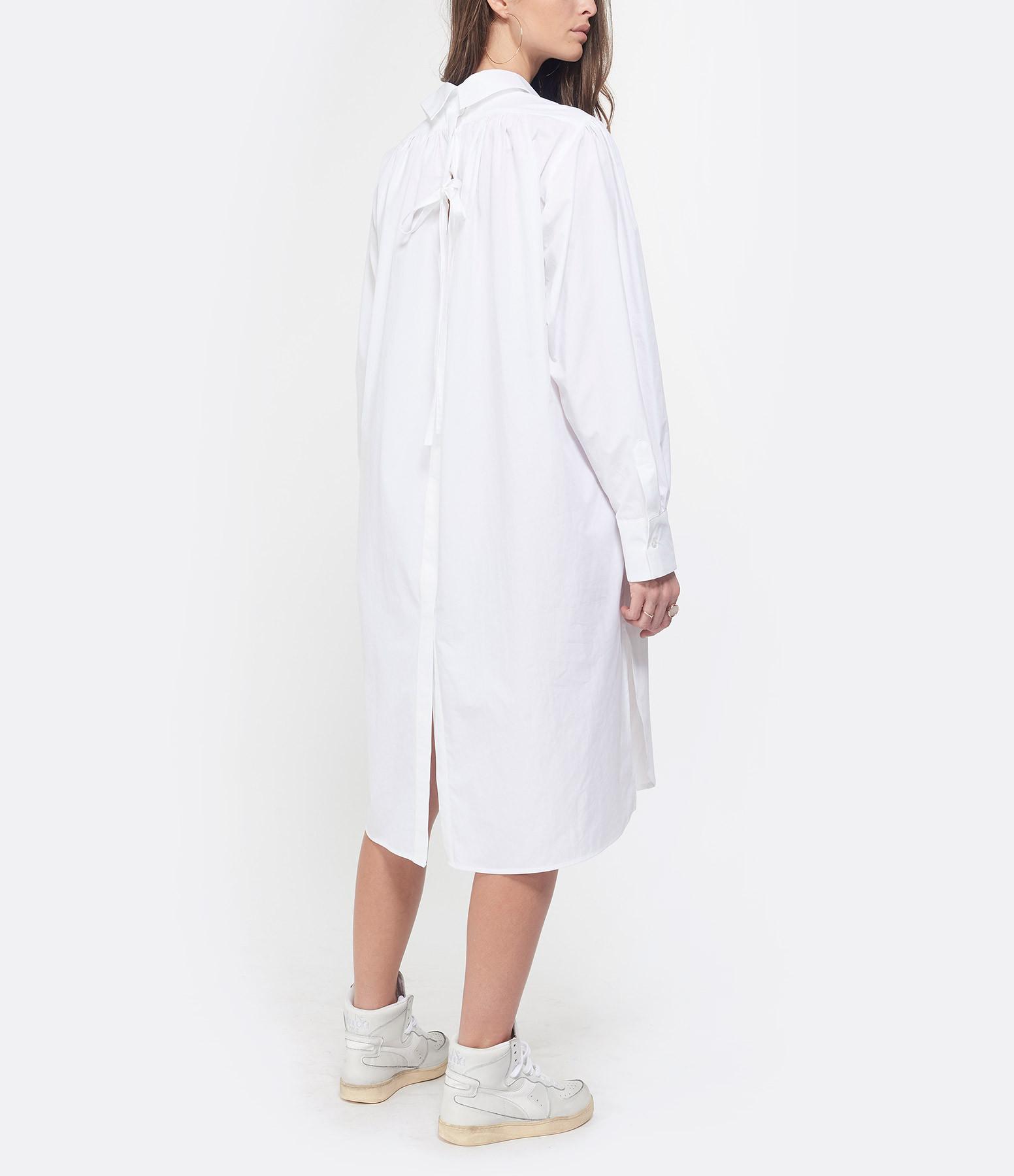 MSGM - Robe Chemise Coton Blanc