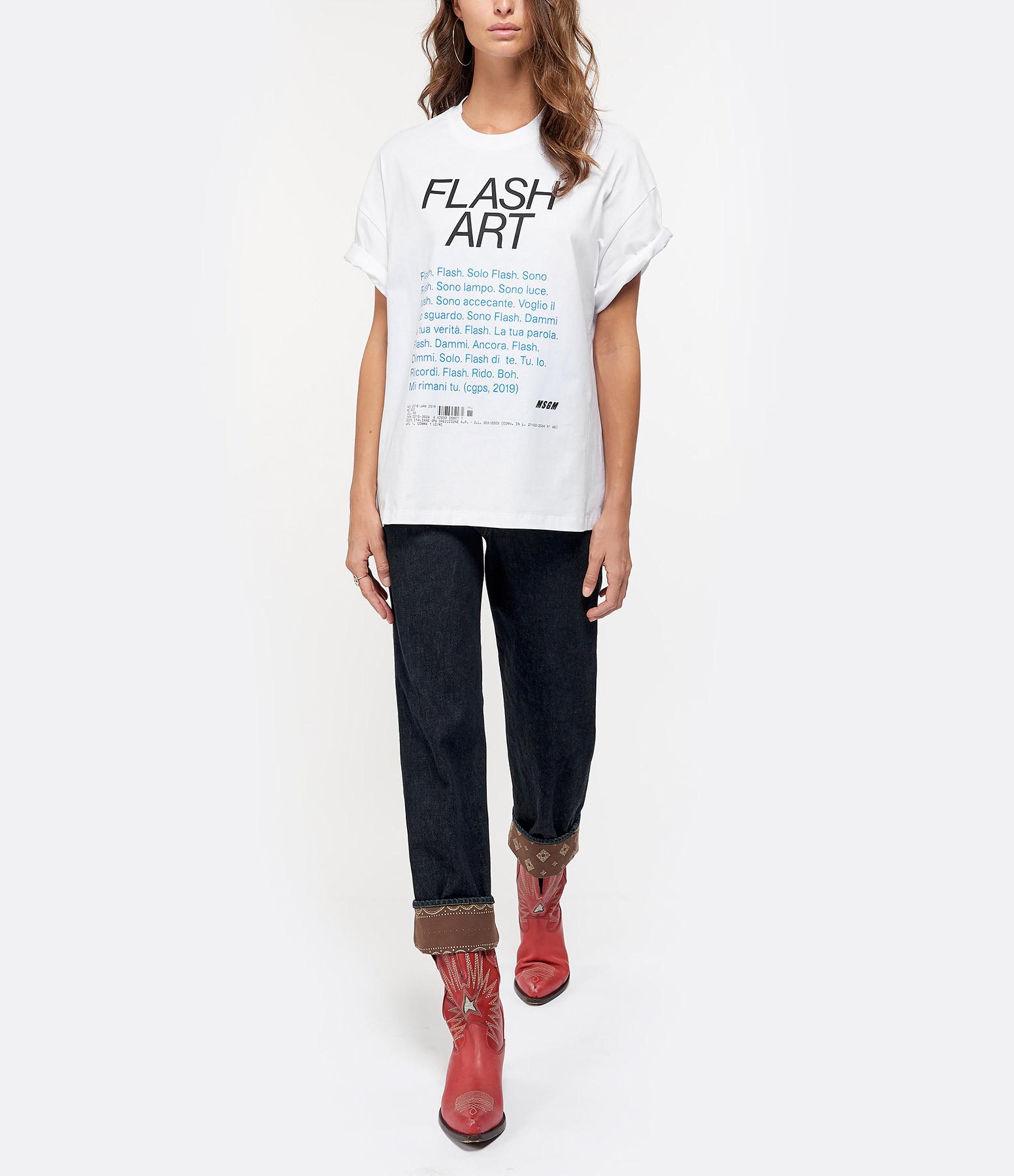 MSGM - Tee-shirt Flash Art Coton Blanc