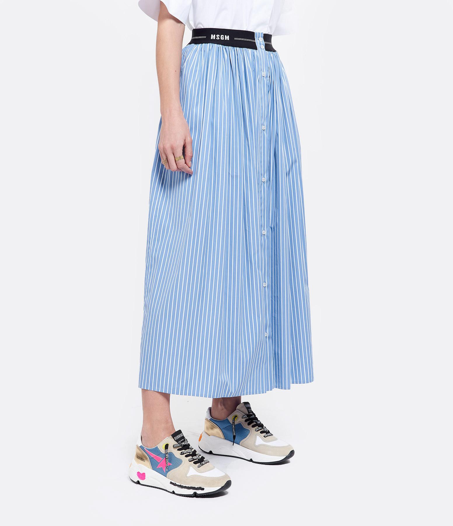 MSGM - Jupe Rayures Coton Bleu