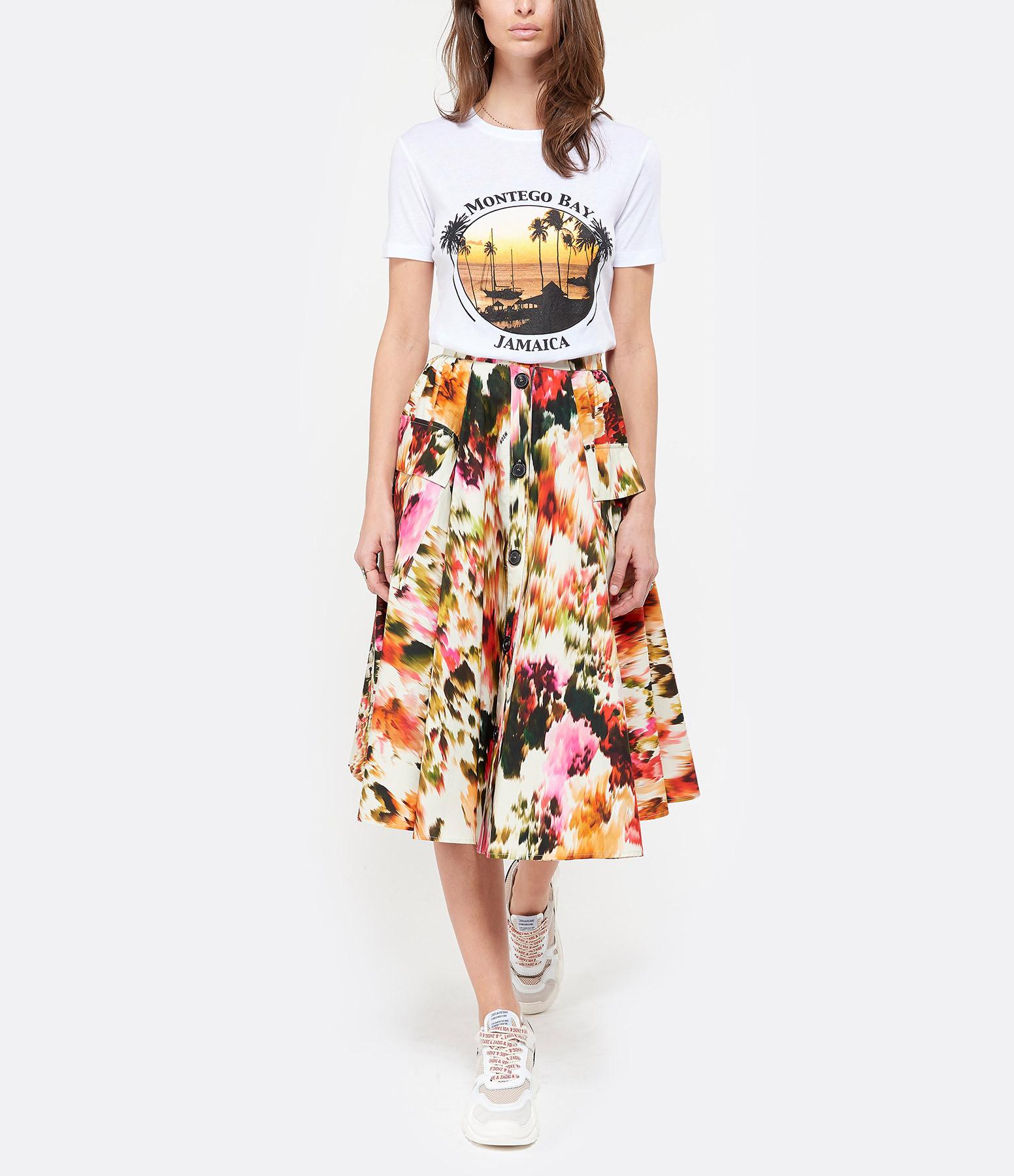 MSGM - Jupe Imprimé Floral Coton Ecru