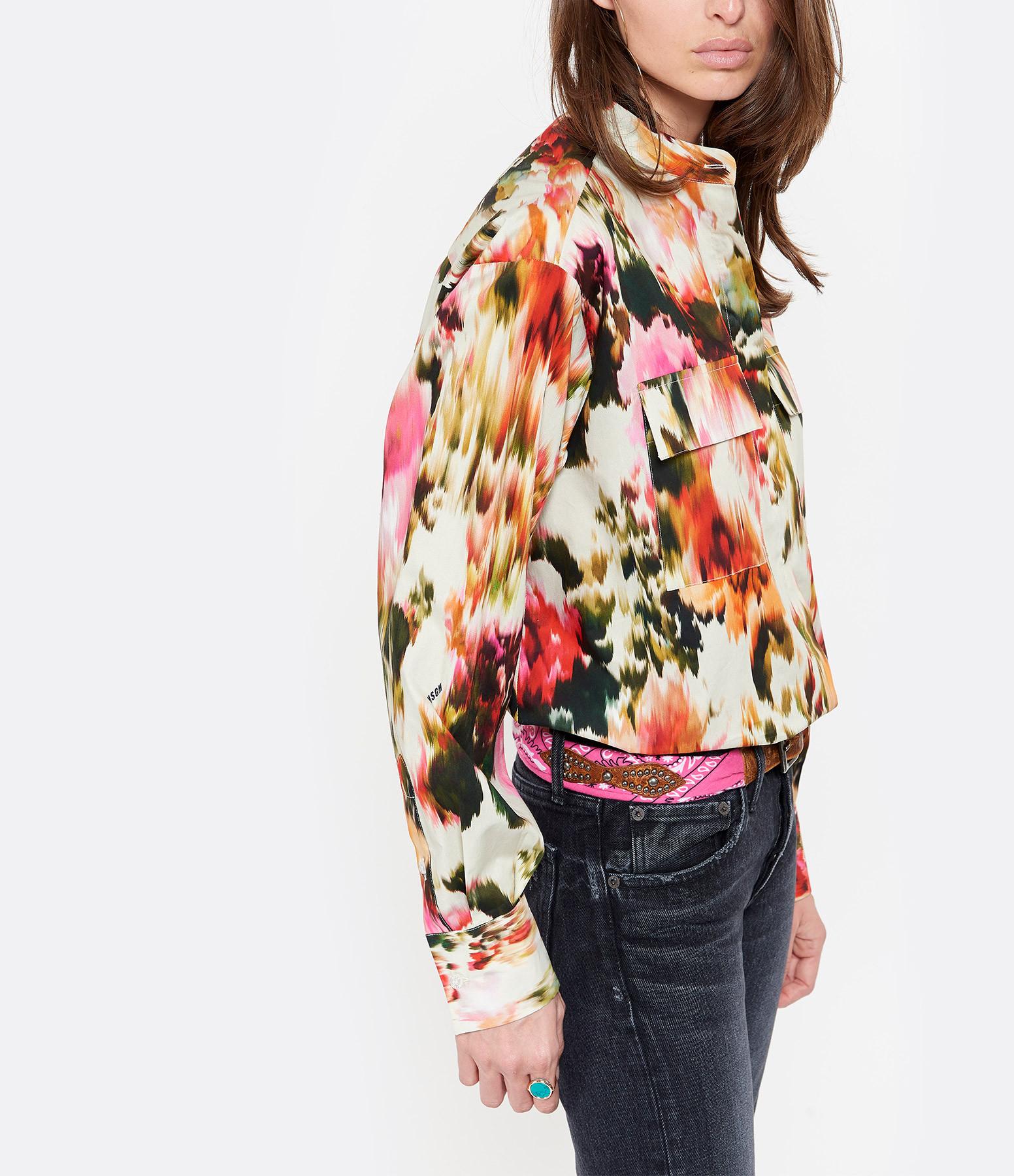 MSGM - Chemise Imprimé Floral Coton Ecru