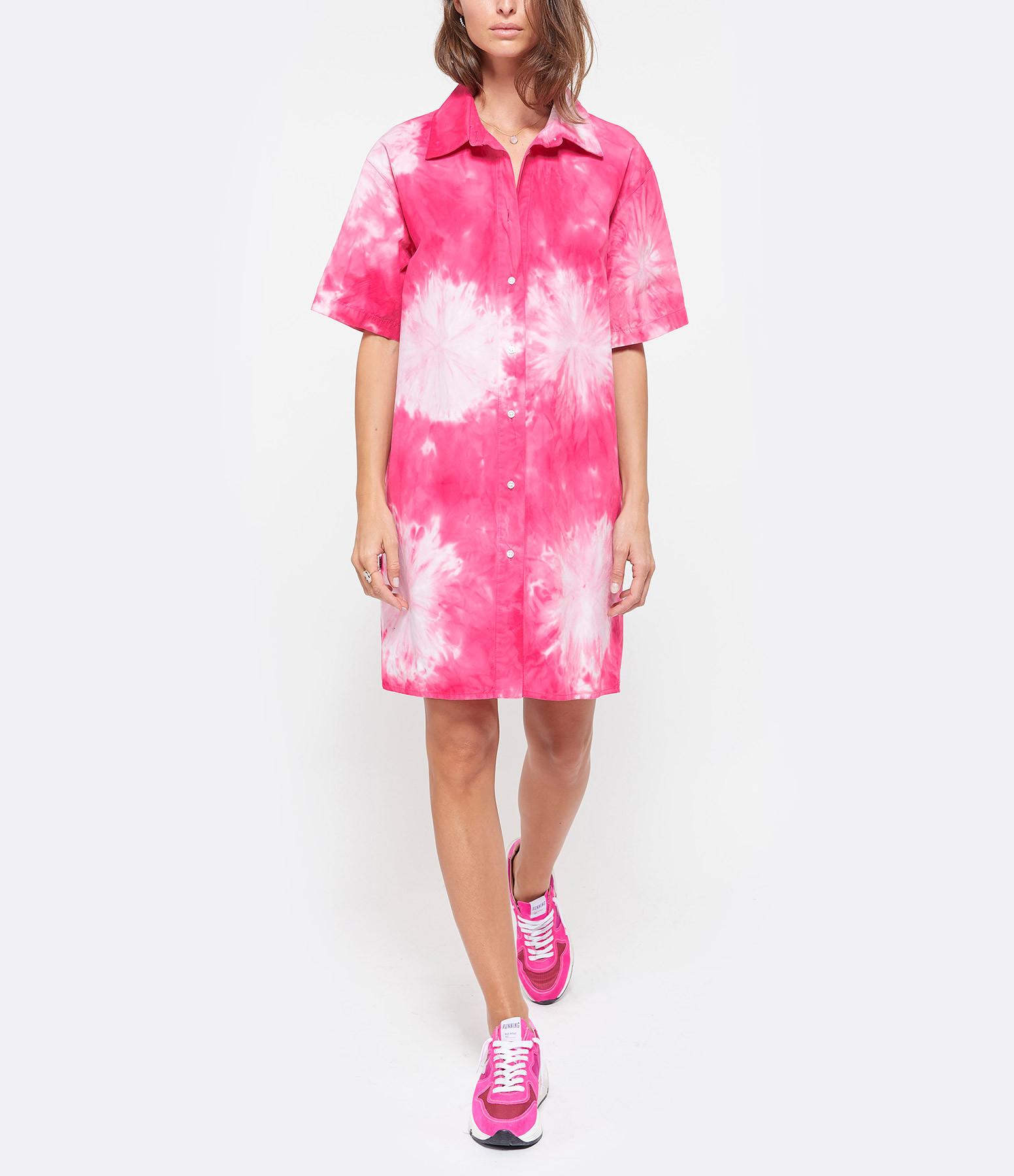 MSGM - Robe Chemise Tie & Dye Rose Fushia