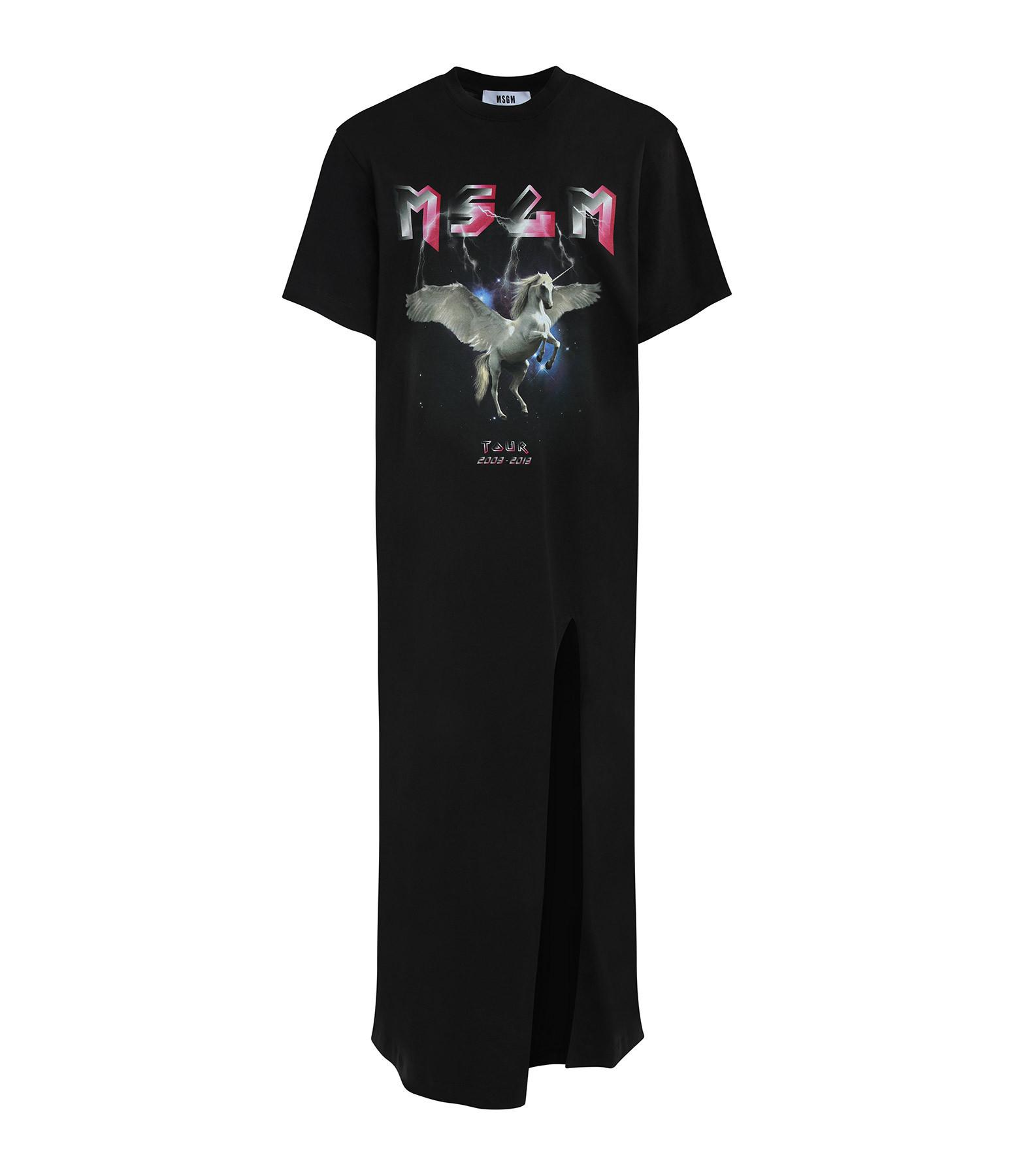 MSGM - Robe Tee-shirt Long Coton Noir