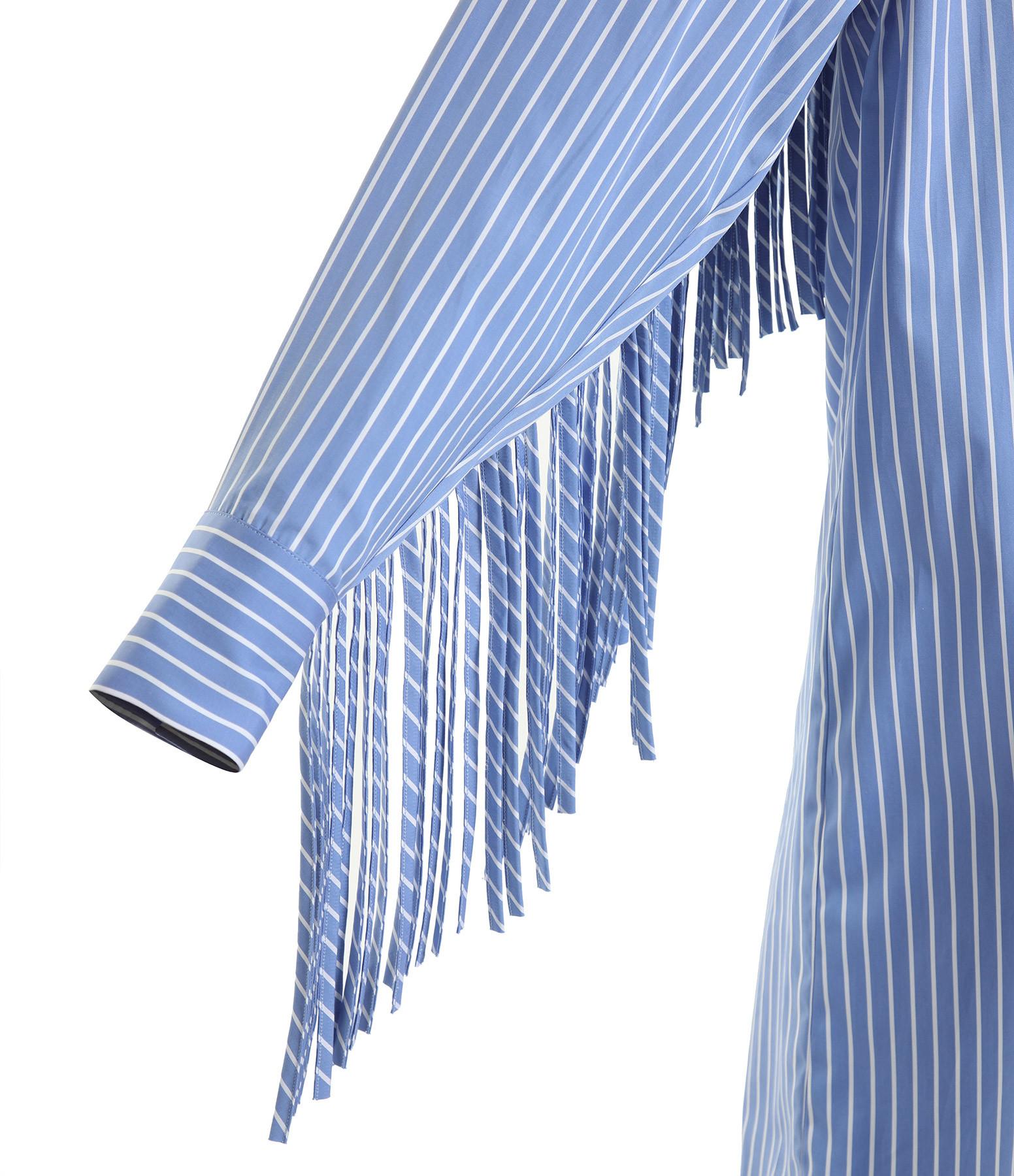 MSGM - Robe Chemise Rayures Coton Bleu