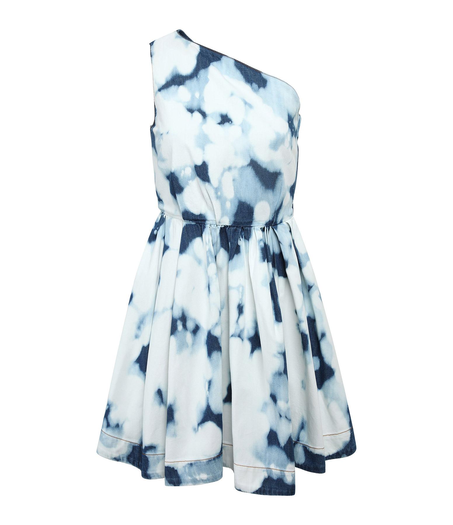 MSGM - Robe Tie & Dye Bleu Blanc