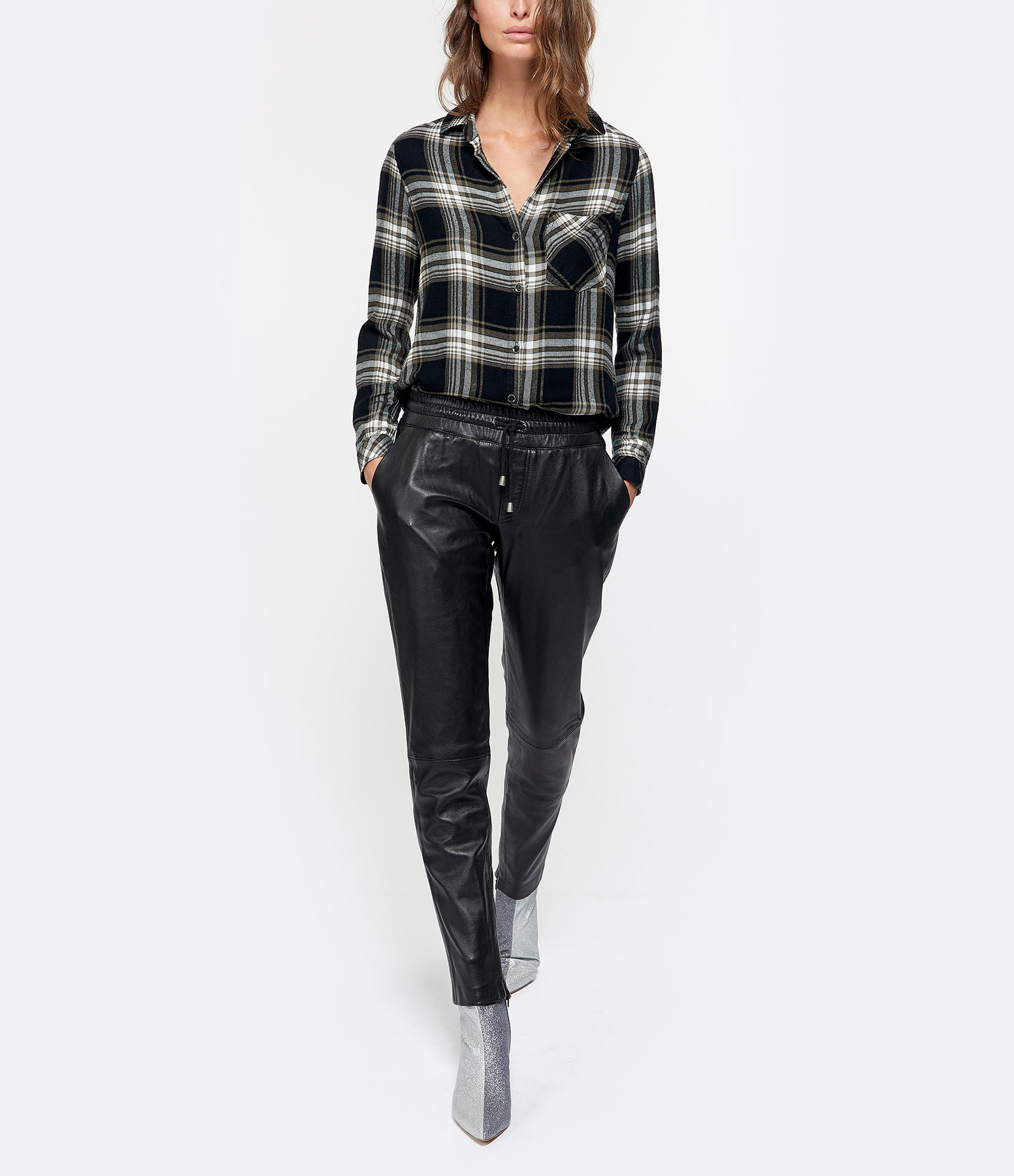 MUUBAA - Pantalon Malaxis Cuir Noir