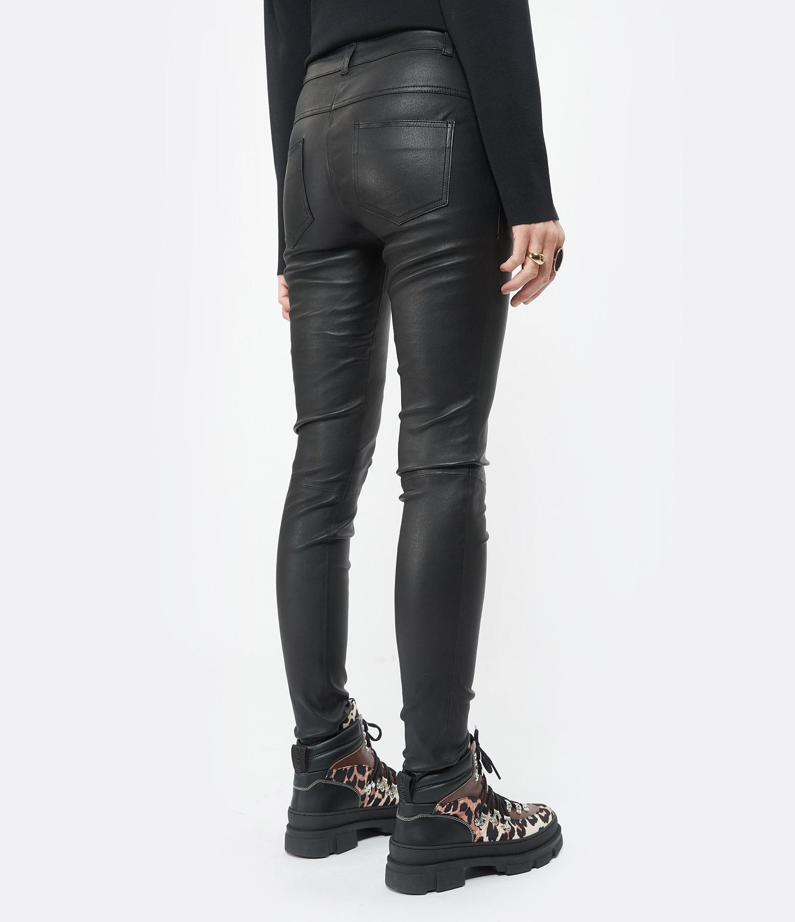 MUUBAA - Jean Bandit Stretch Cuir Noir