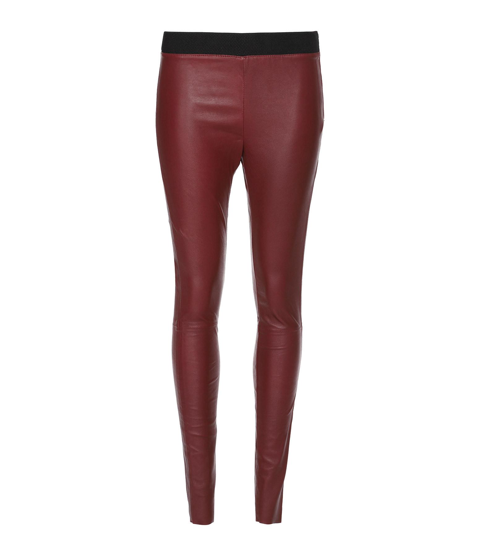 MUUBAA - Legging STR Cuir Rouge Foncé