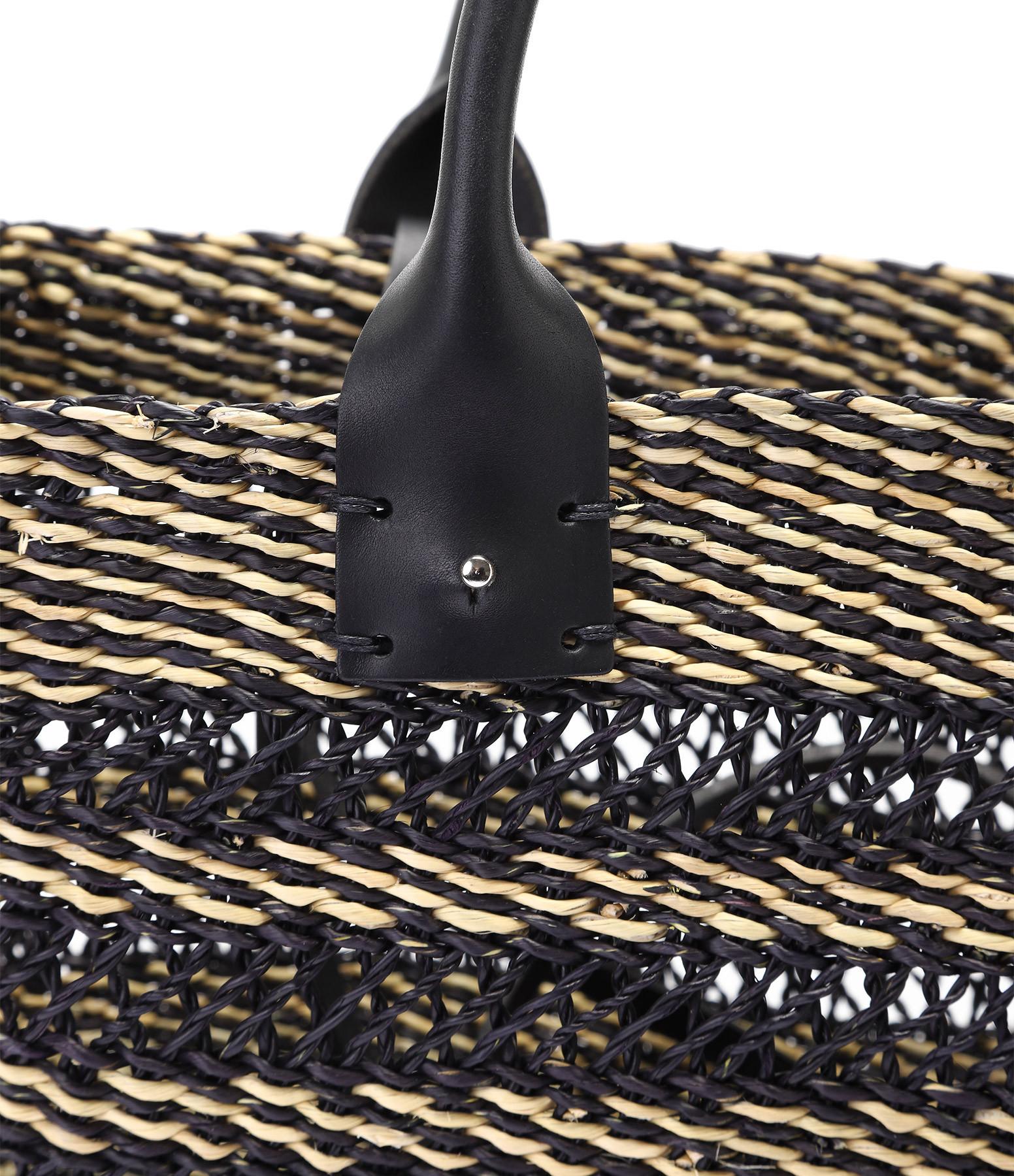 MUUN - Panier Carrie Coton Paille Noir Naturel