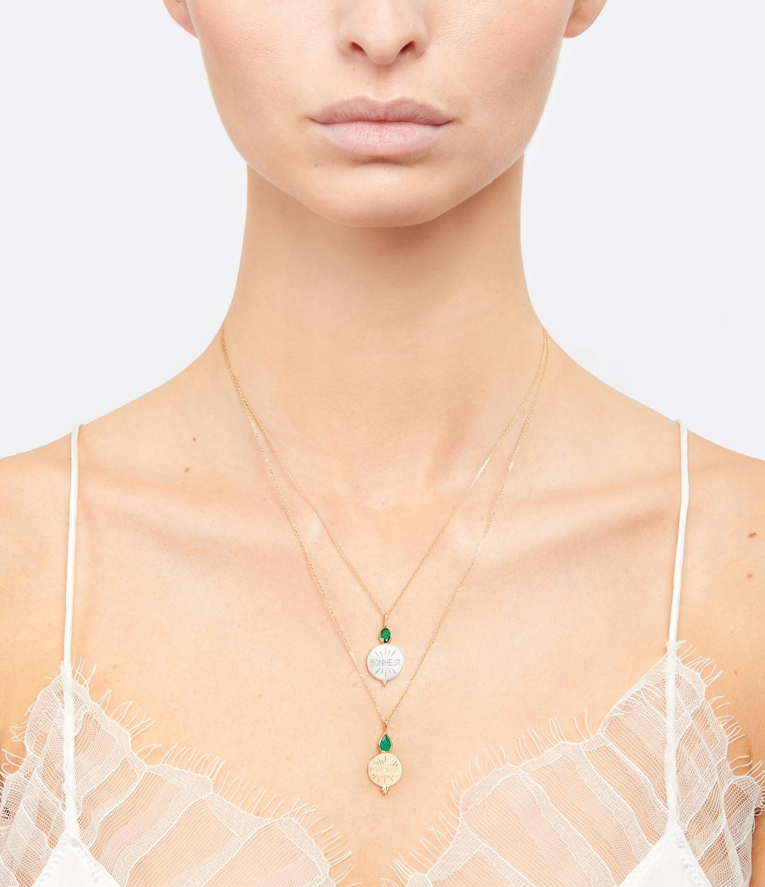 LA SUPERBE - Pendentif Bonheur Or Jaune, Nacre et  Agate Verte